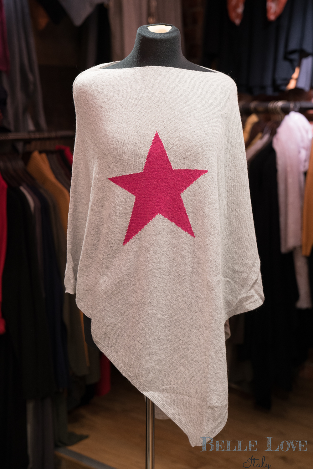 Belle love Italy Cashmere Star Poncho