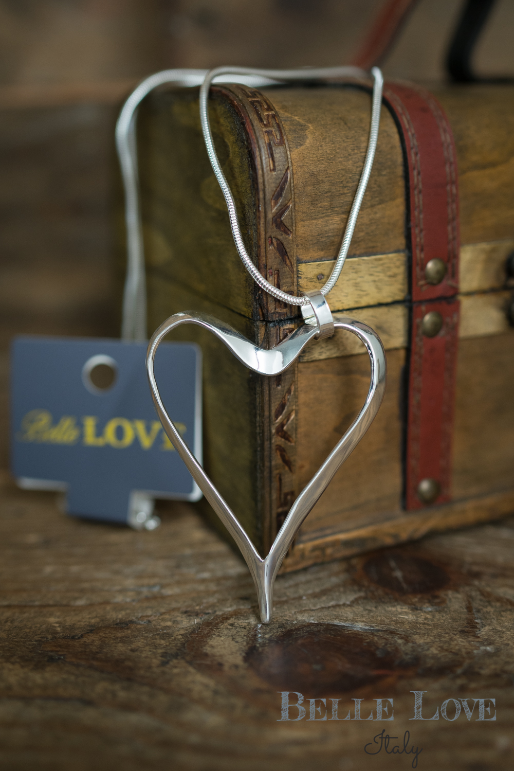 Belle Love Italy Shiny Silver Heart Necklace
