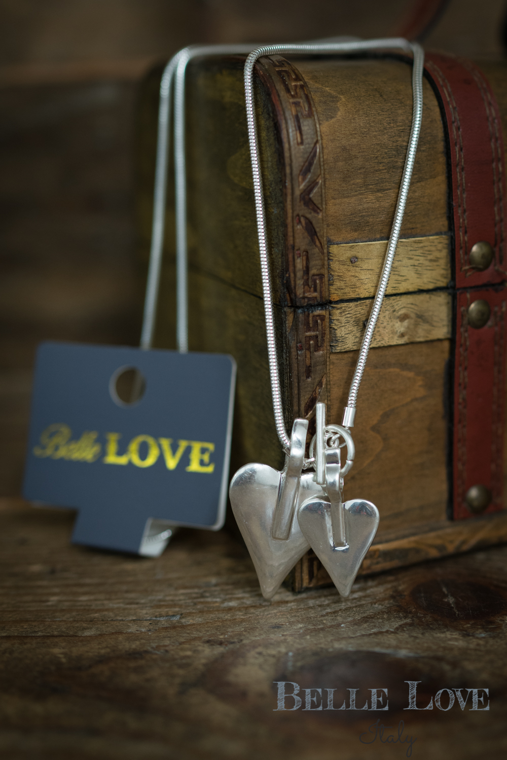 Belle Love Italy Pair Of Hearts Necklace