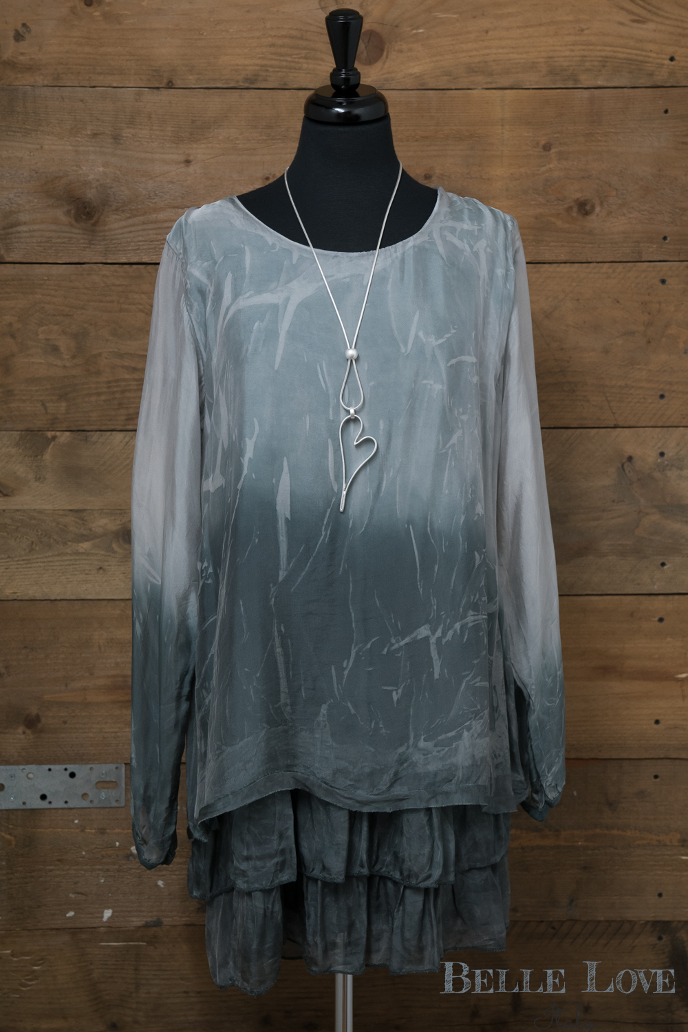 Belle Love Italy Oversize Layered Silk Top