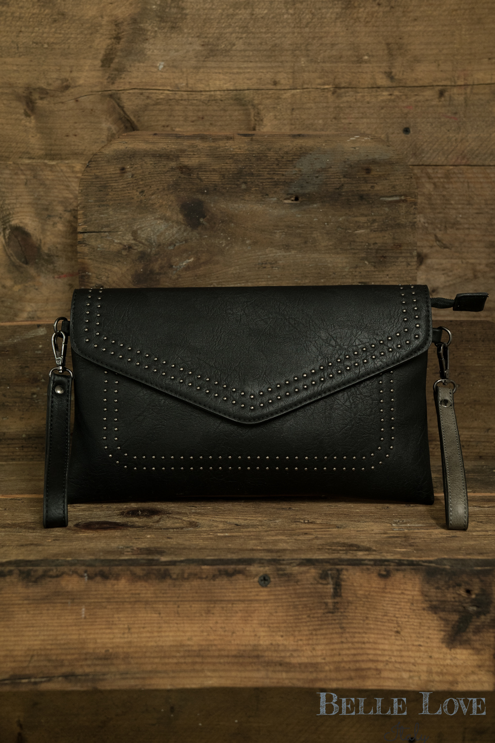 Belle Love Italy Black Studded Envelope Clutch Bag