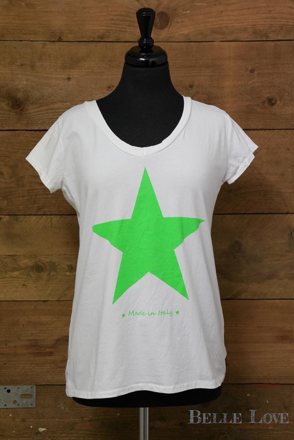 Belle Love Italy Neon Star Print T-Shirt