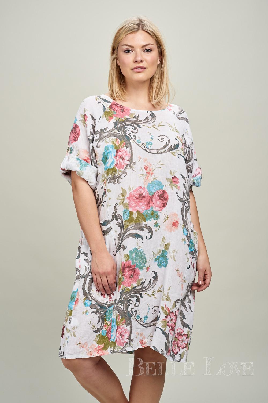 Belle Love Italy Floral Lagenlook Linen Dress