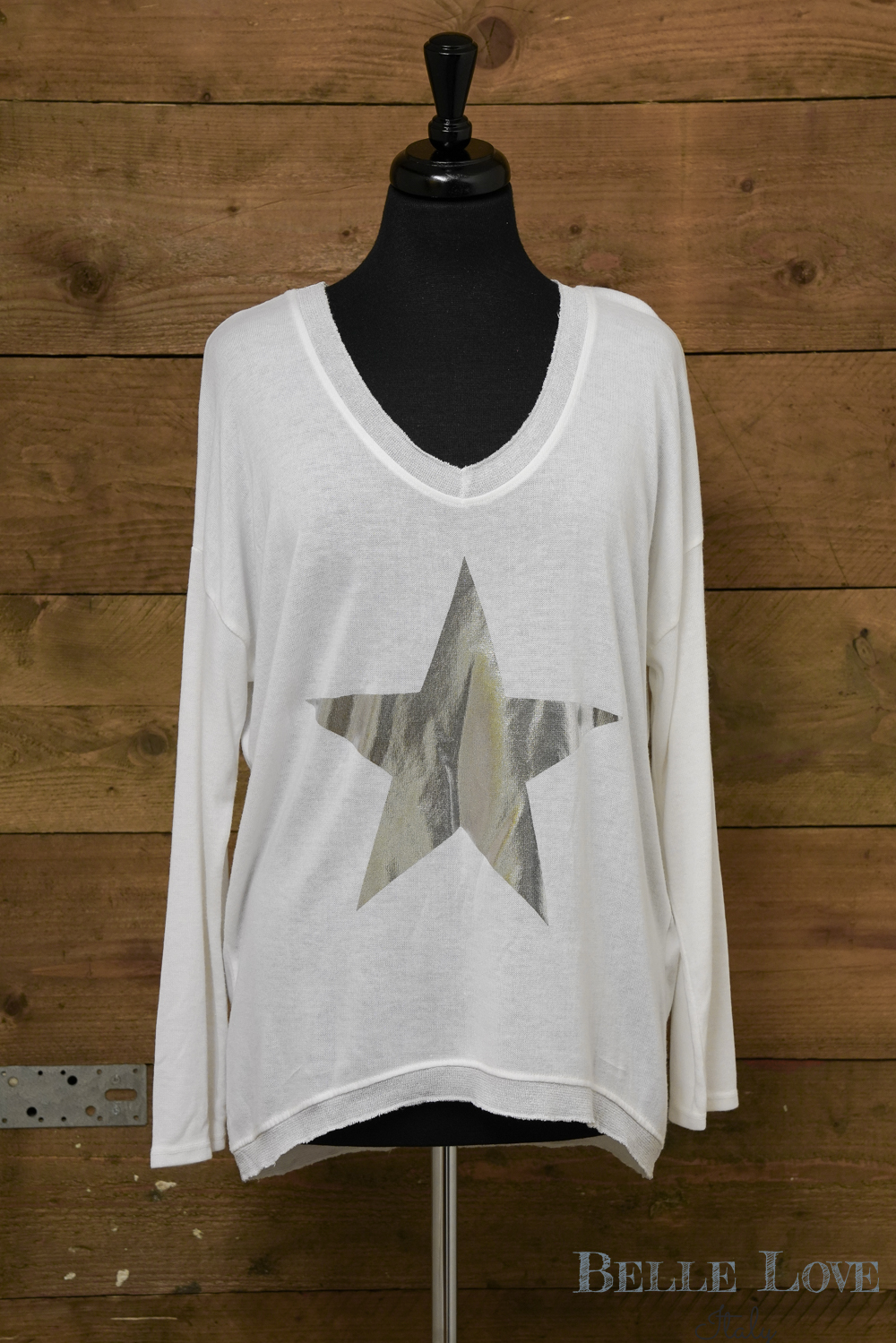 Belle Love Italy Lightweight Metallic Silver Star Top