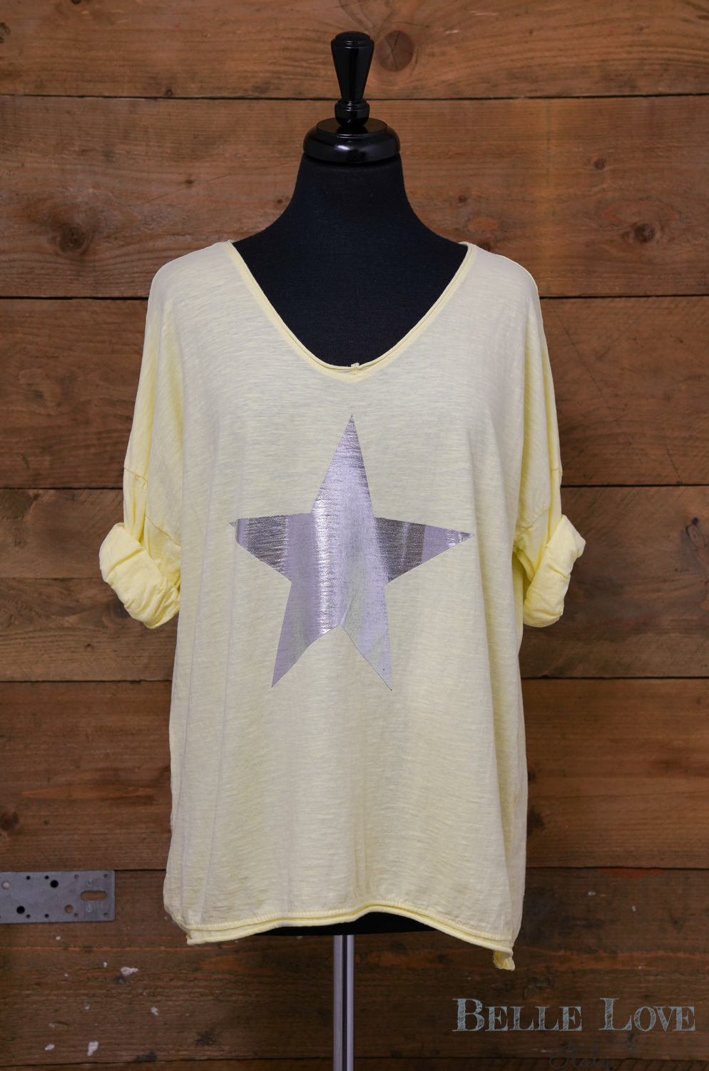 Belle Love Italy Casual Silver Star Top