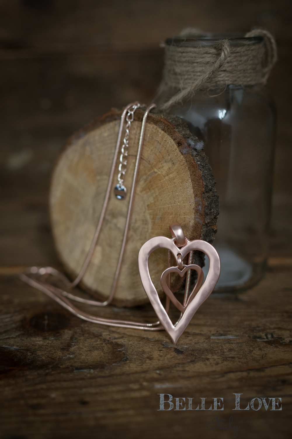 Belle Love Italy Rose Gold Double Love Necklace