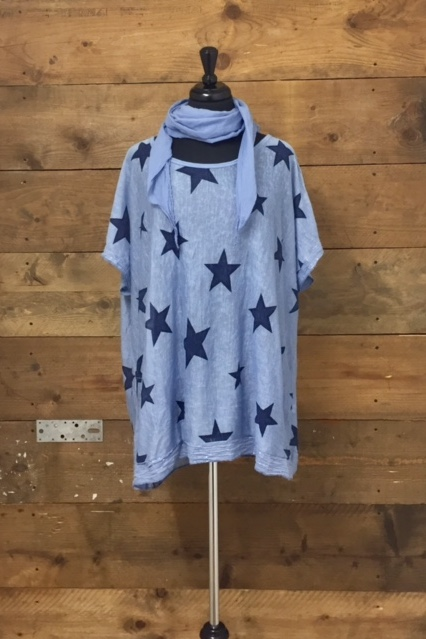 Belle Love Italy Two Piece All Over Star Top