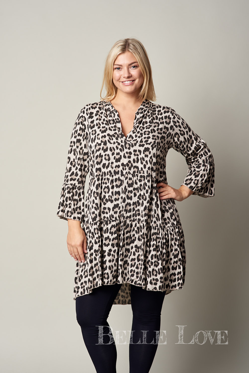 Belle Love Italy Leopard Print Smock Dress