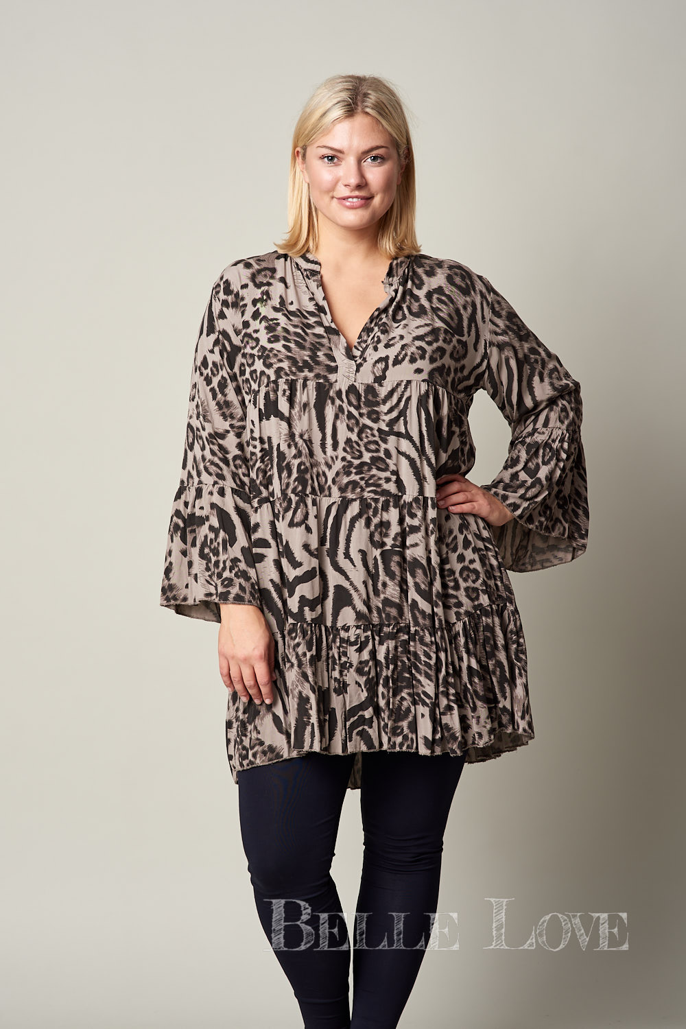 Belle love Italy Animal Print Smock Dress