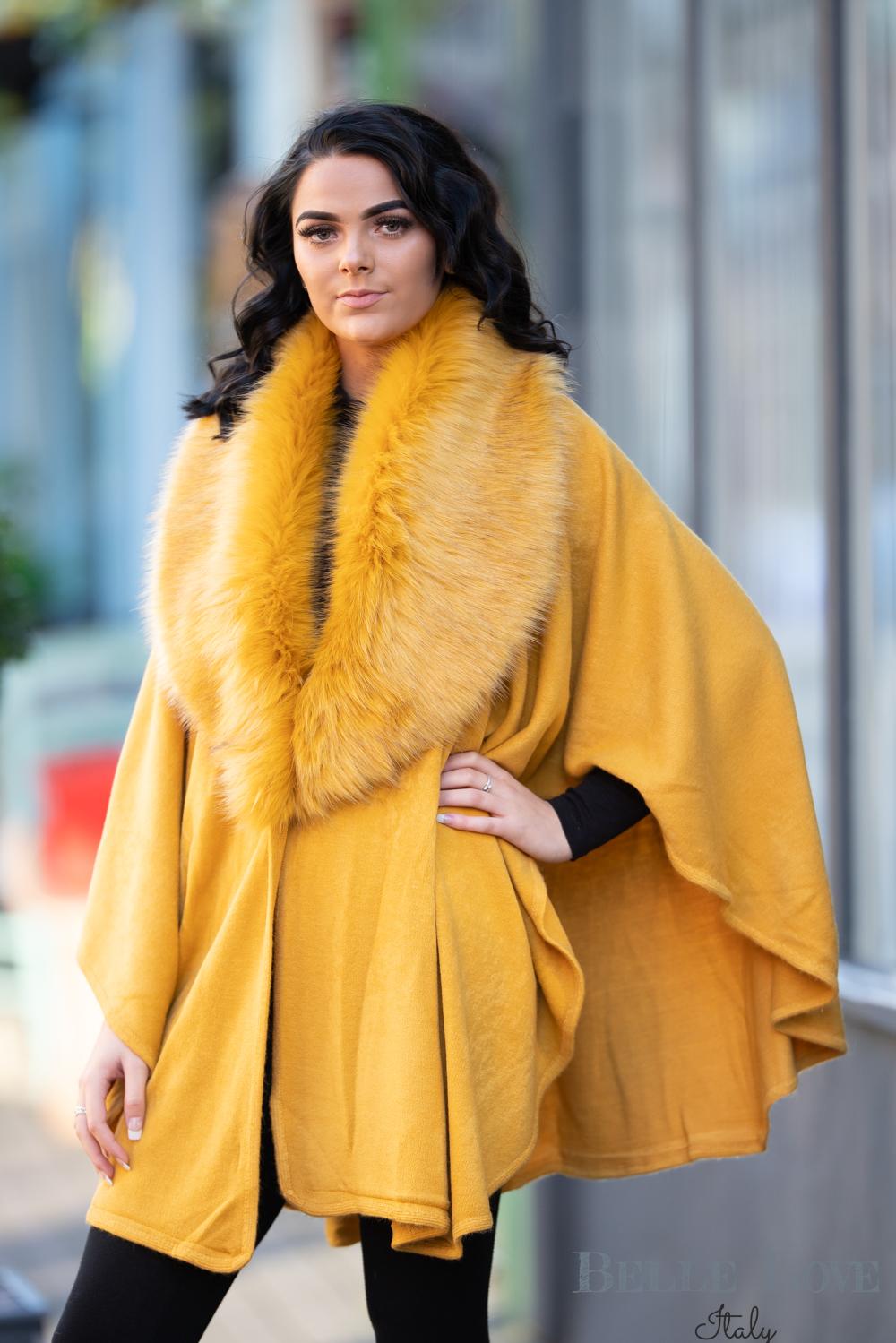 Belle Love Italy Sovano Luxury Fur Collar Cape