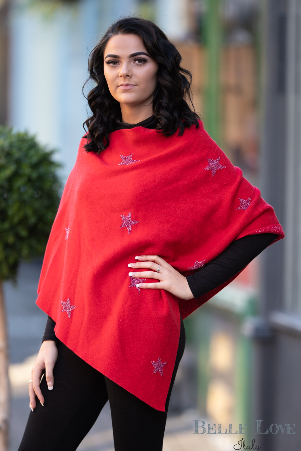 Belle Love Italy Glitter Star Poncho