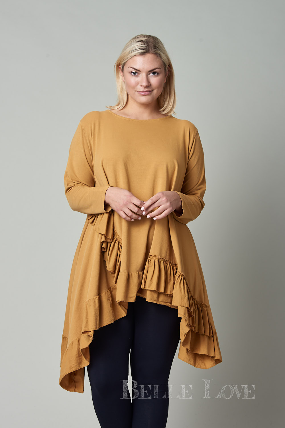 Belle Love Italy Arched Hem Ruffle Top