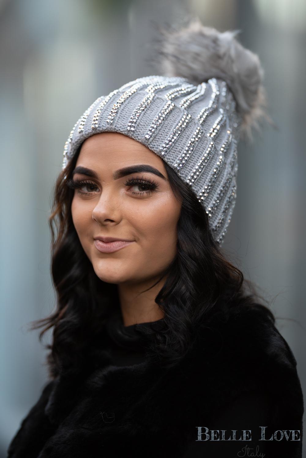 Belle Love Italy Diamante Pom Pom Hat
