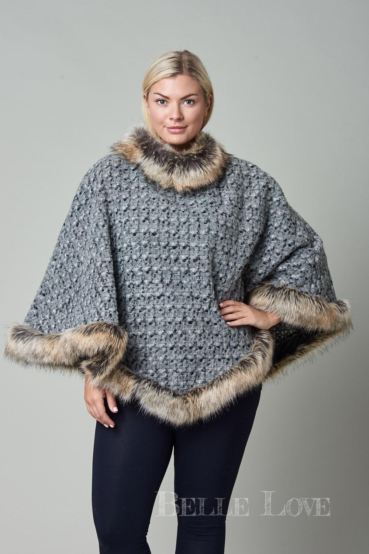 Belle Love Italy Neive Woollen Faux Fur Poncho