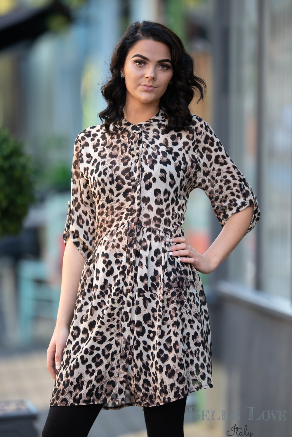Belle Love Italy Leopard Print Smock Dress/Top