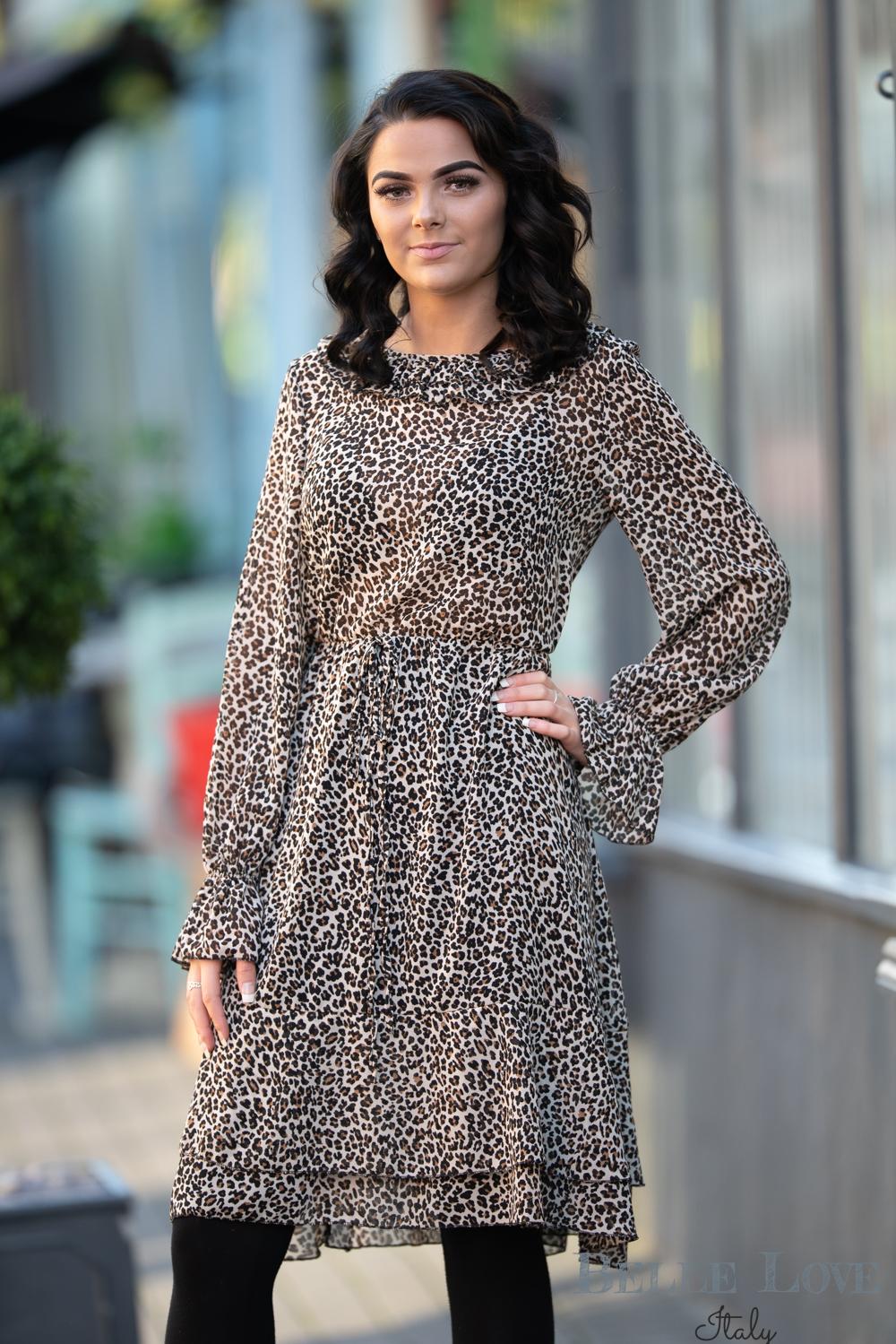 Belle Love Italy Leopard Print Ruffle Dress