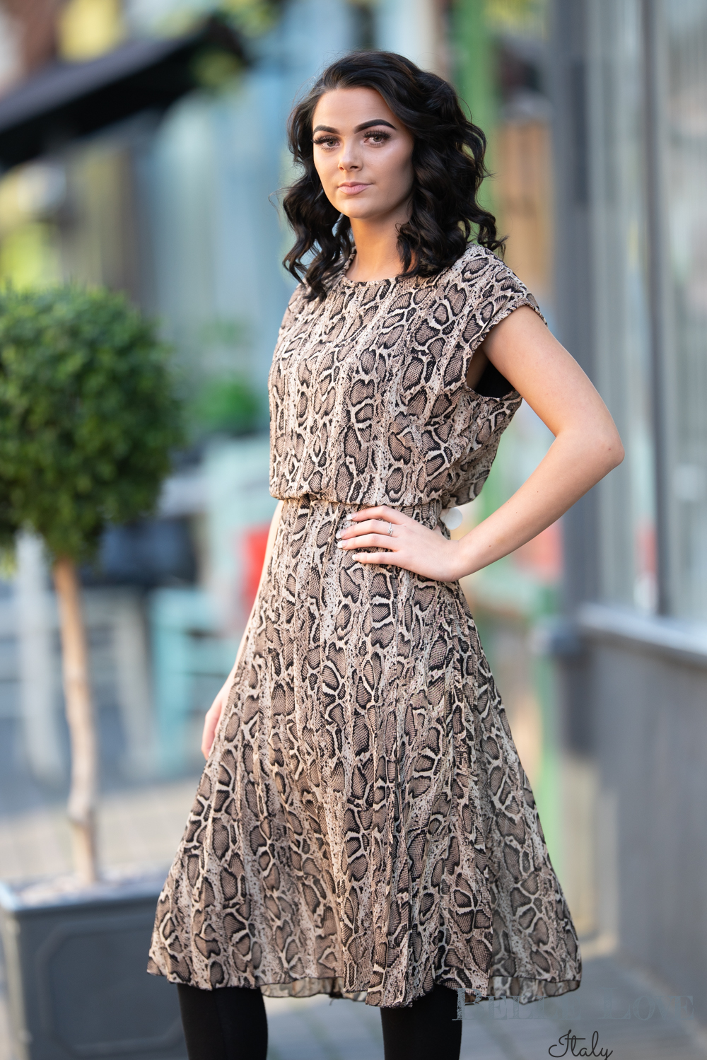 Belle Love Italy Snakeskin Print Dress