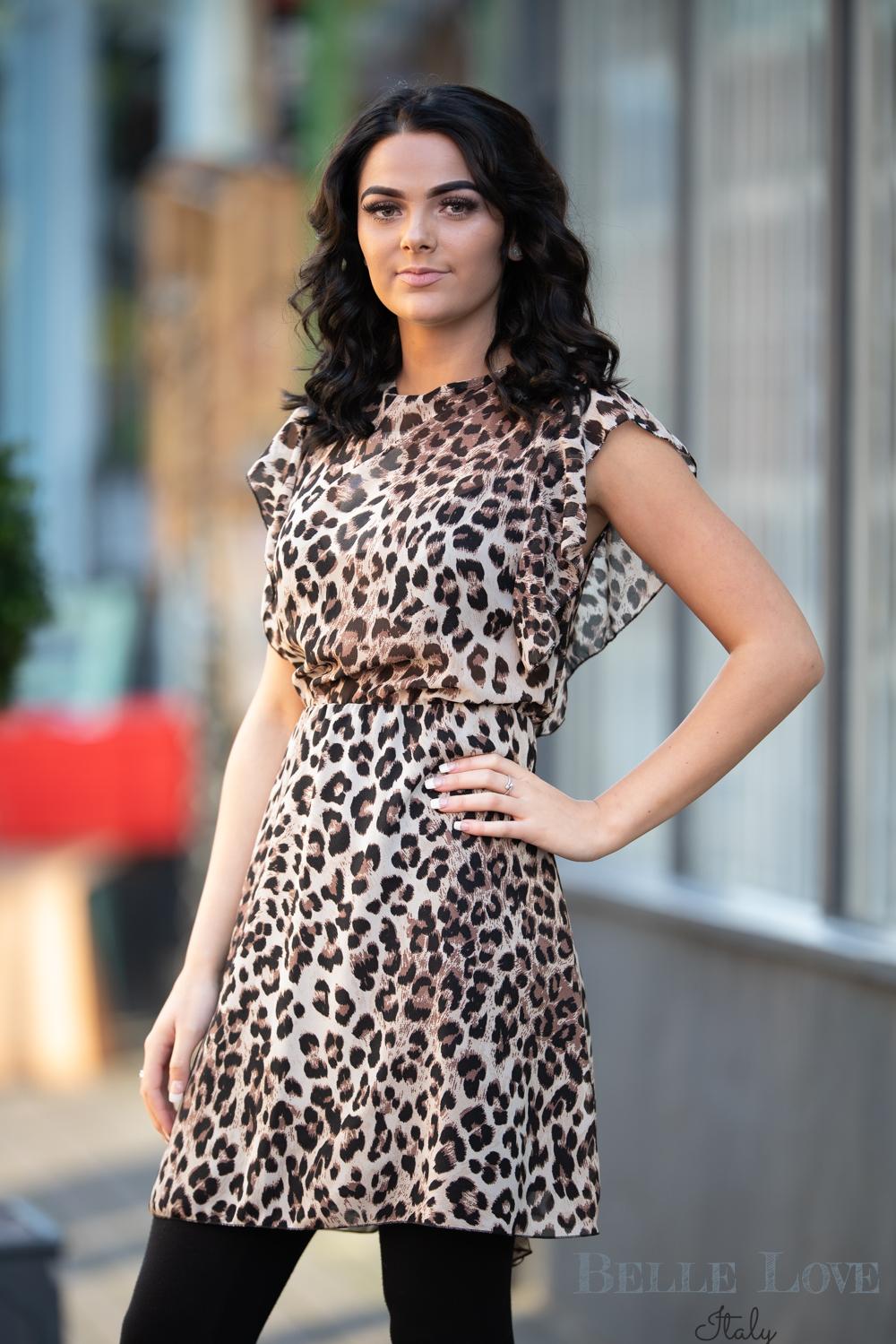 Belle Love Italy Ruffle Leopard Print Dress