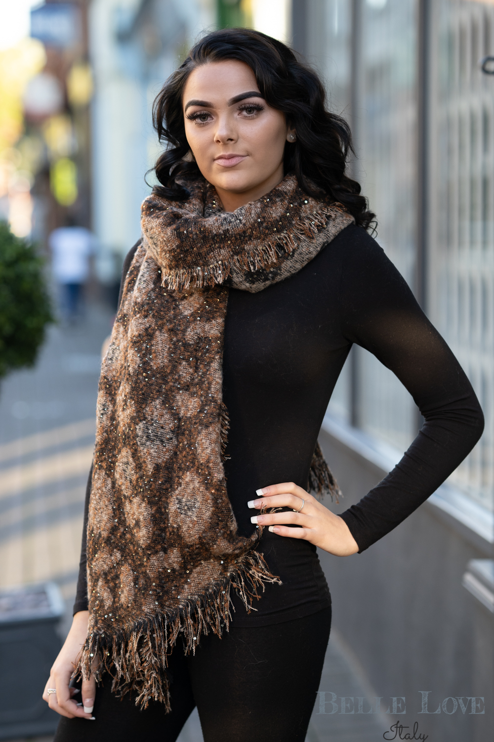 Belle Love Italy Sparkle Leopard Print Scarf