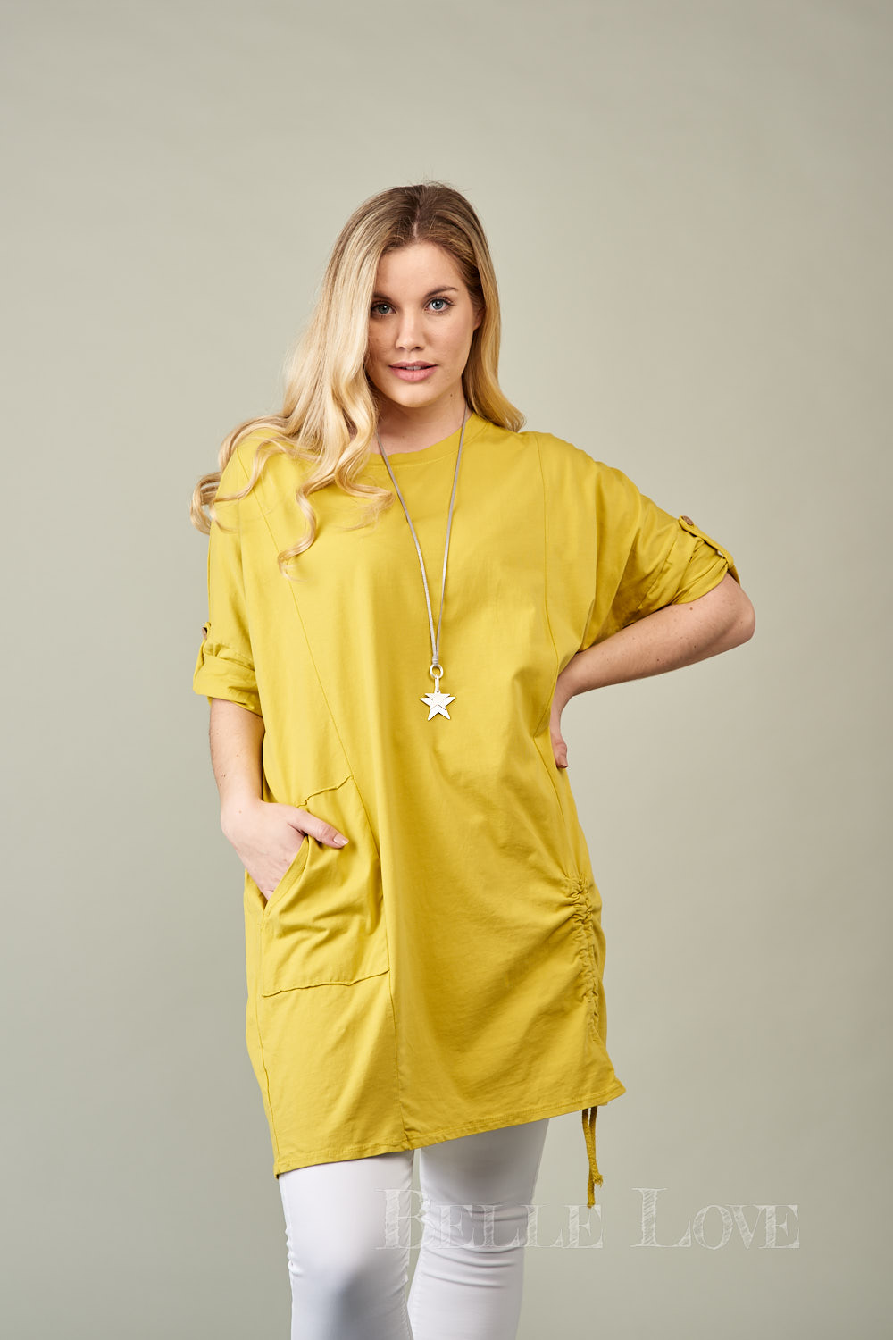 Belle Love Italy Ruched Side Pocket Top