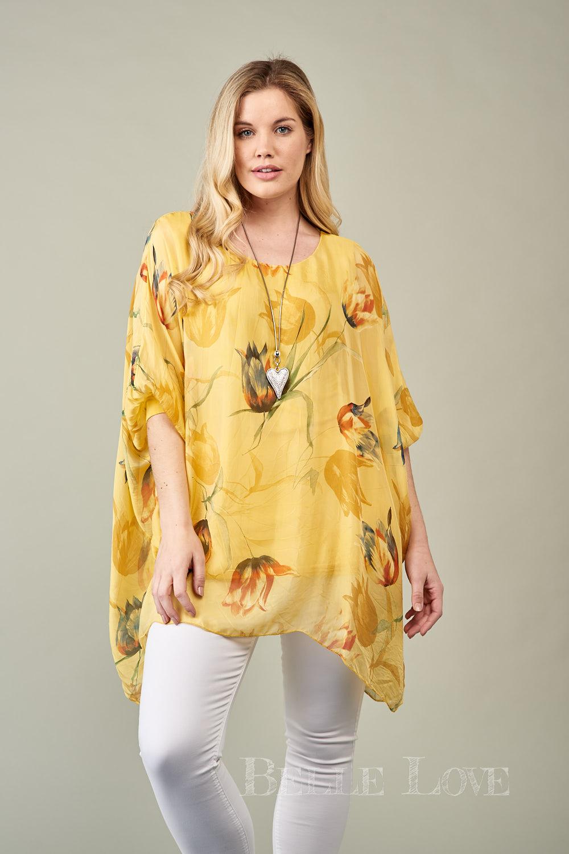 Belle Love Italy Tulip Silk Print Top