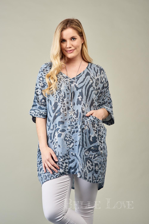 Belle Love Italy Leopard Print Linen Mix Top