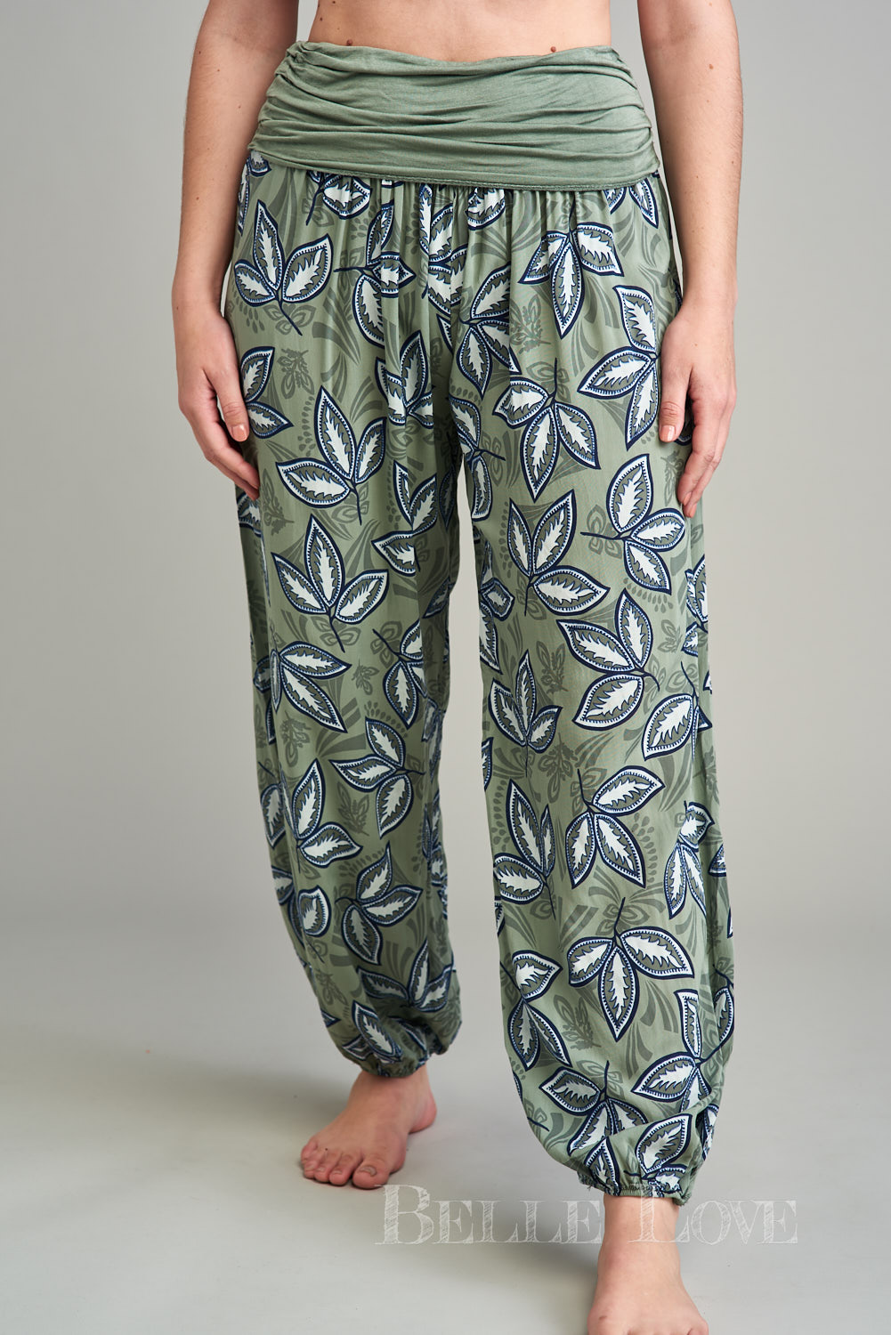 Belle Love Italy Leaf Print Harem Trousers