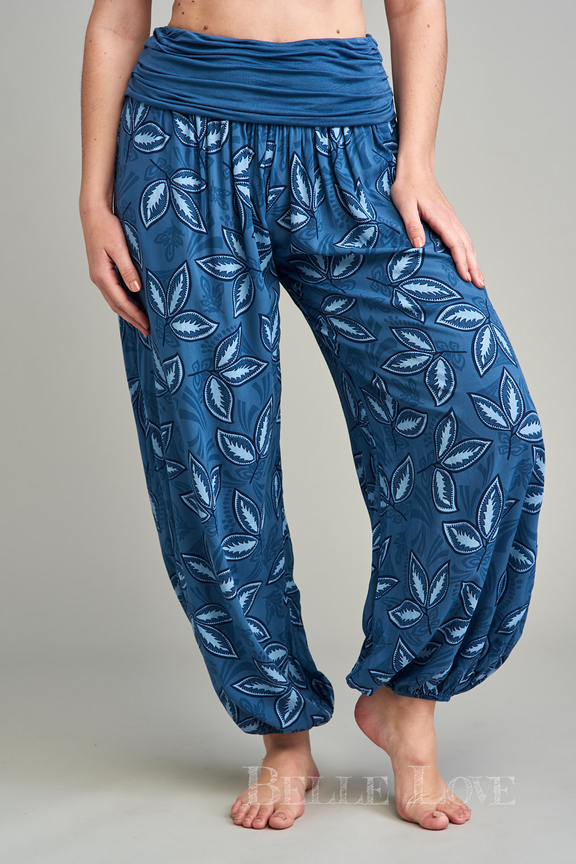 Belle Love Italy Leaf Print Harem Trousers