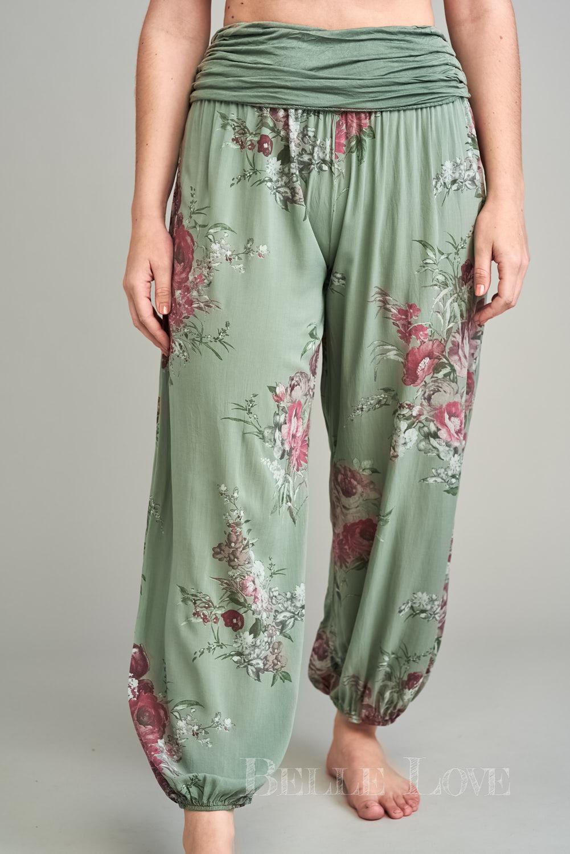Belle Love Italy Flower Print Harem Trousers