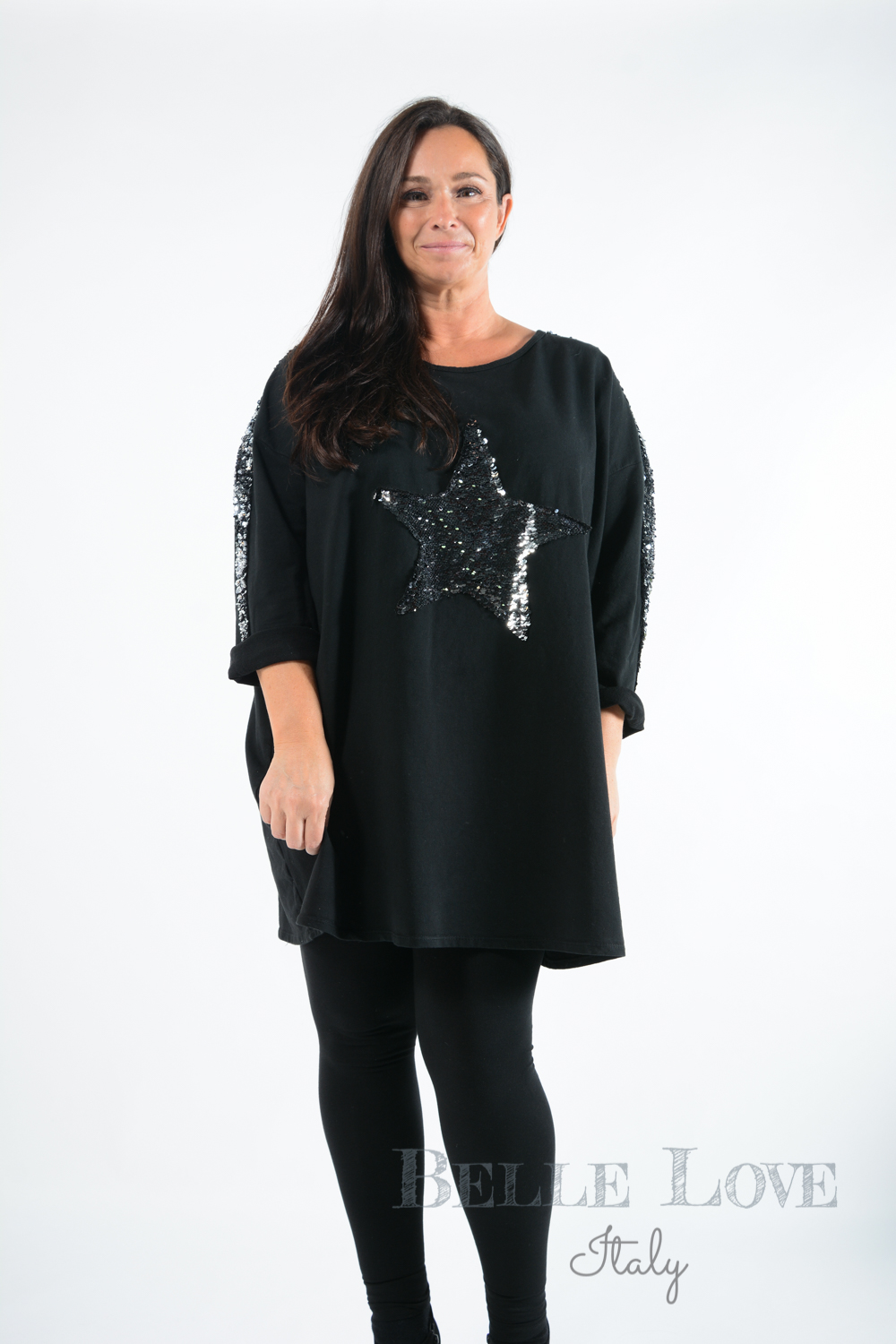Belle Love Italy Saturn Sequin Star Top