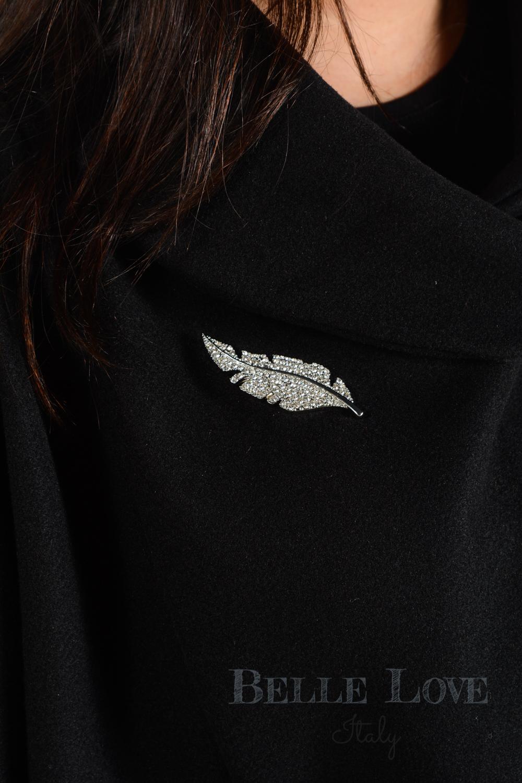 Belle Love Italy Diamante Crystal Leaf Magnetic Brooch