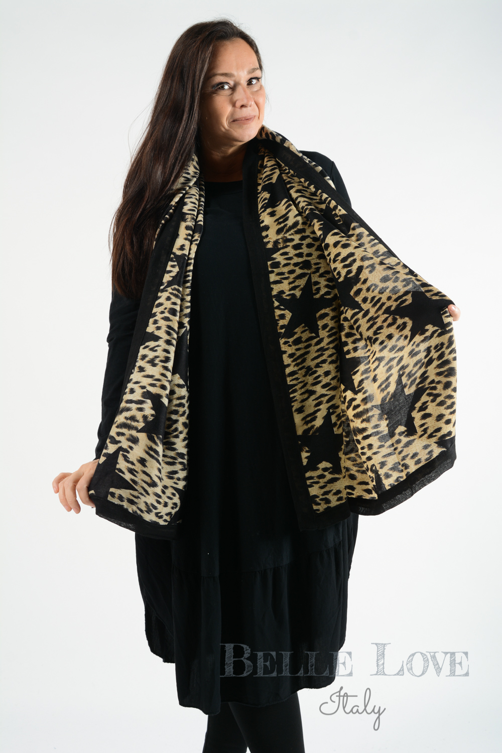 Belle Love Italy Leopard Print Star Scarf