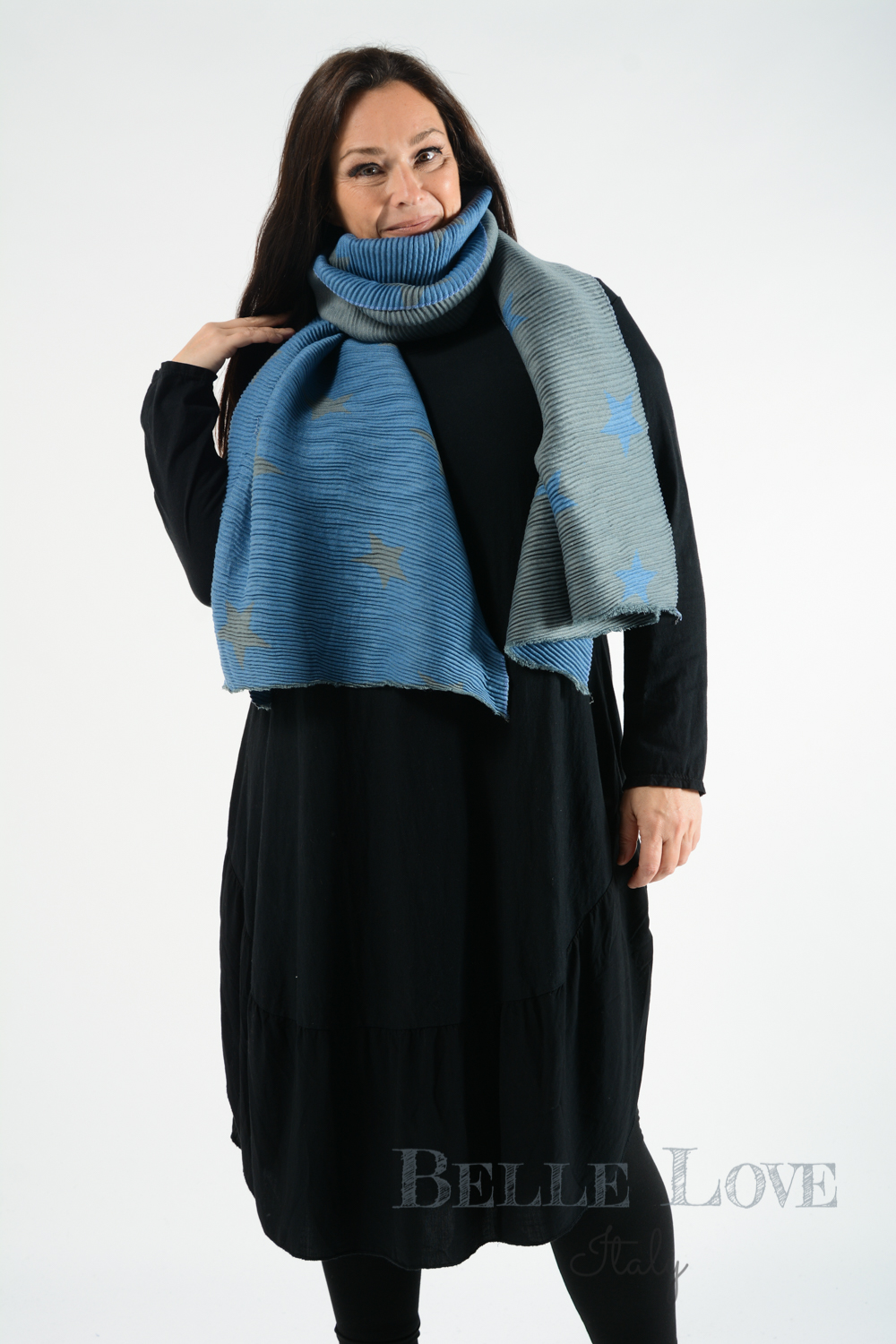 Belle Love Italy Reversible Ribbed Star Scarf