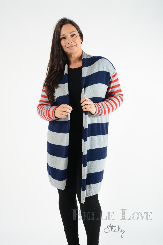 Belle Love Italy Kenzie Striped Cardigan