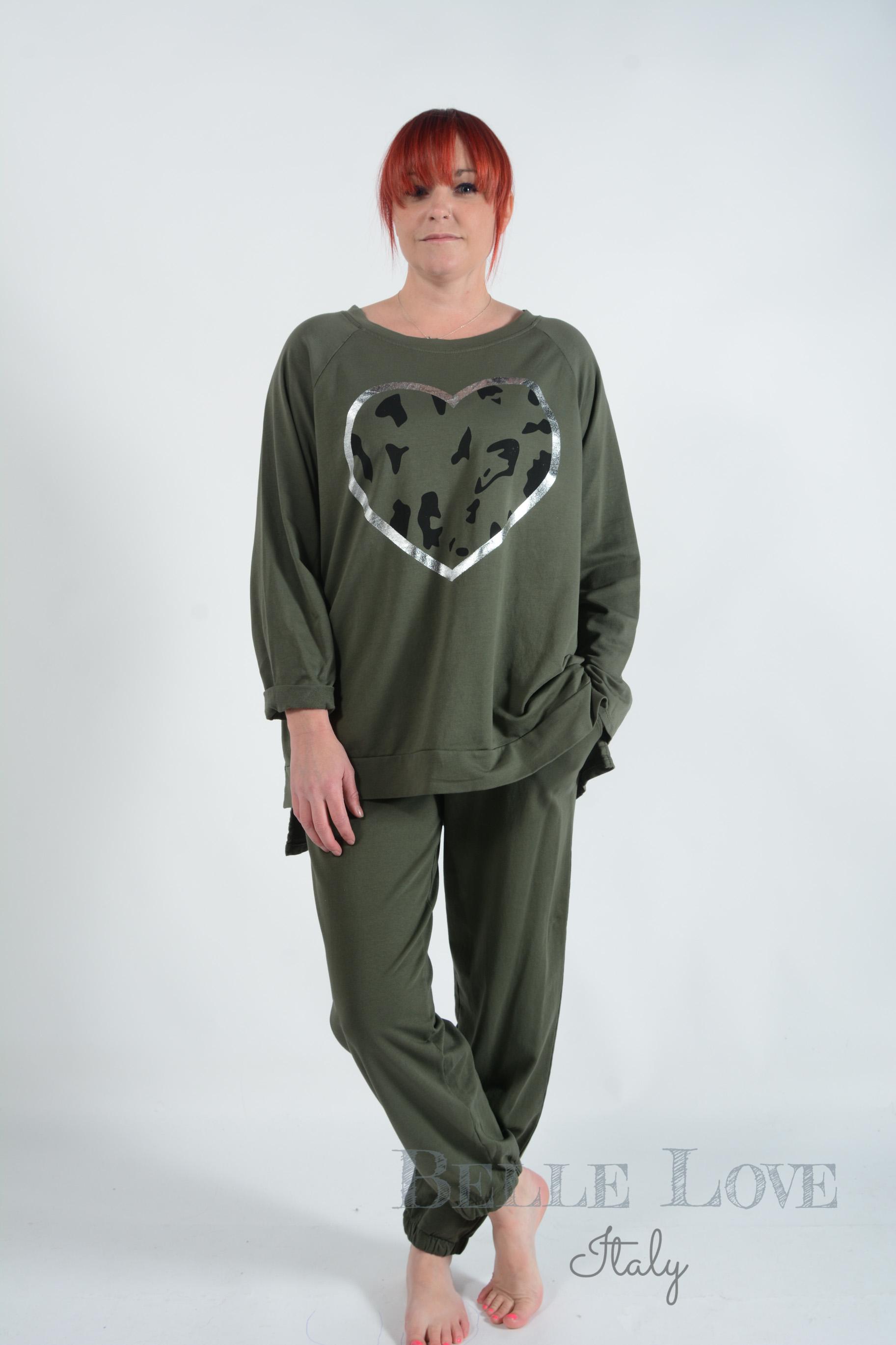 Belle Love Italy Ivy Leopard Heart Loungewear Tracksuit
