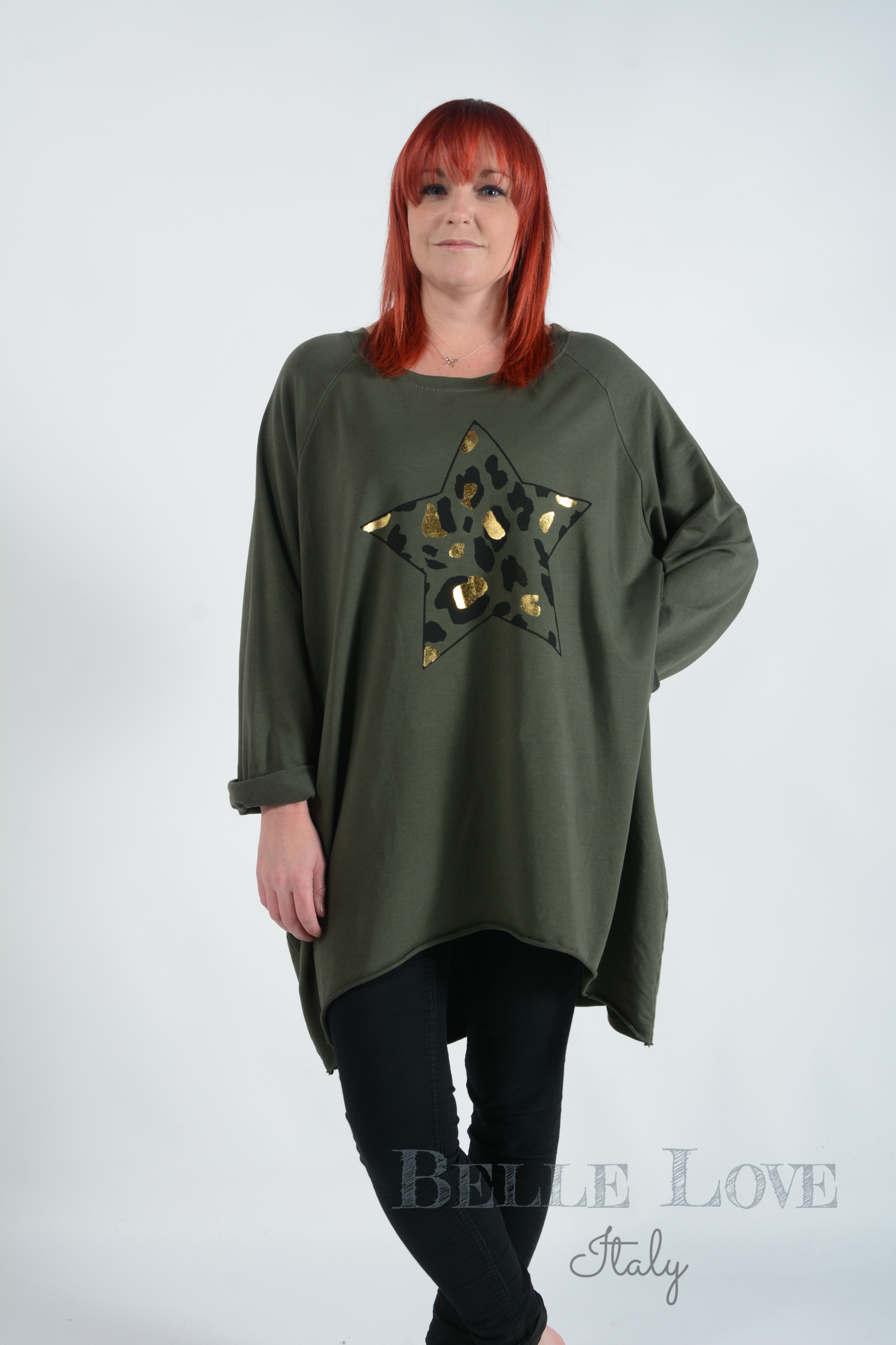 Belle Love Italy Luna Leopard Star Ladies Sweatshirt