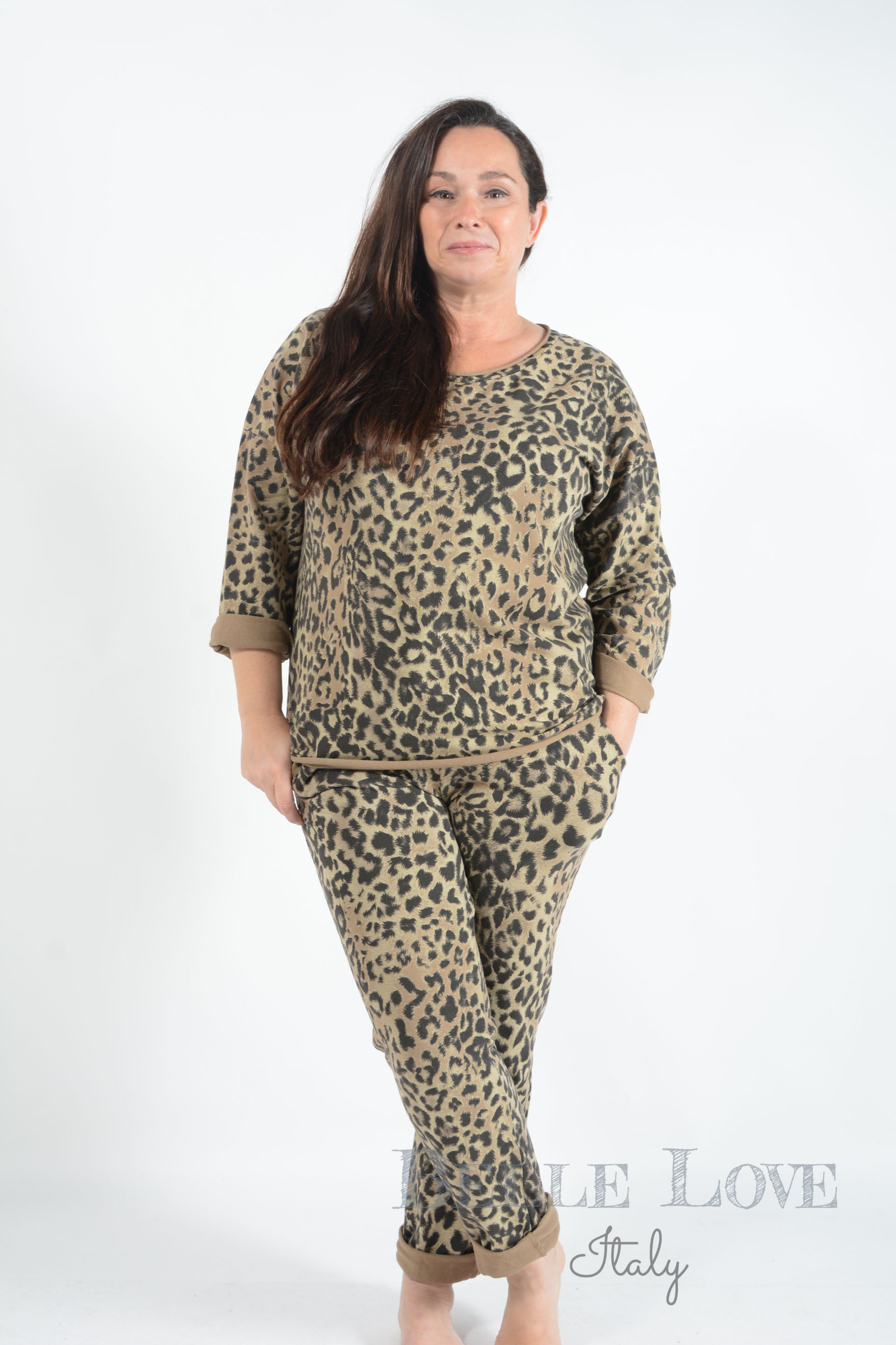 Belle Love Italy Leopard Print Loungewear Set