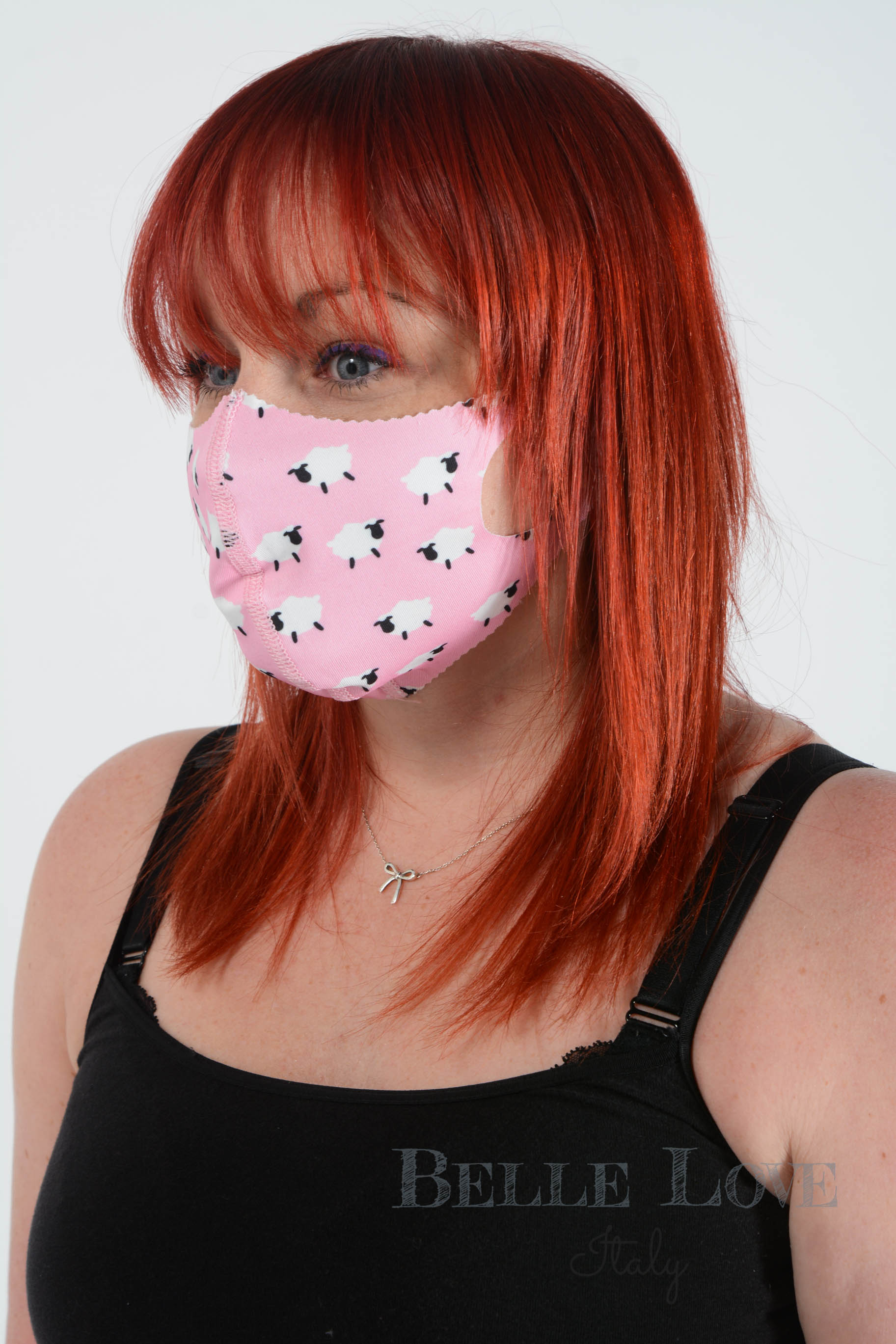 Belle Love Italy Pink Sheep Face Mask