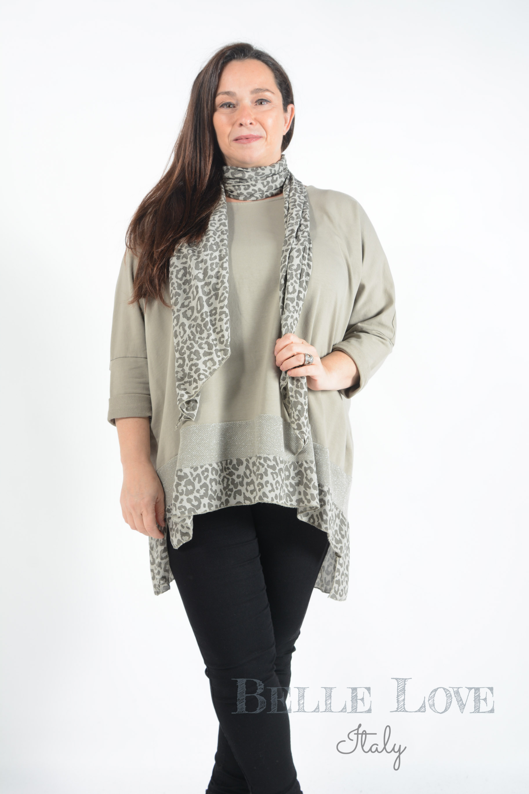 Belle Love Italy Robyn Leopard Print Scarf Tunic