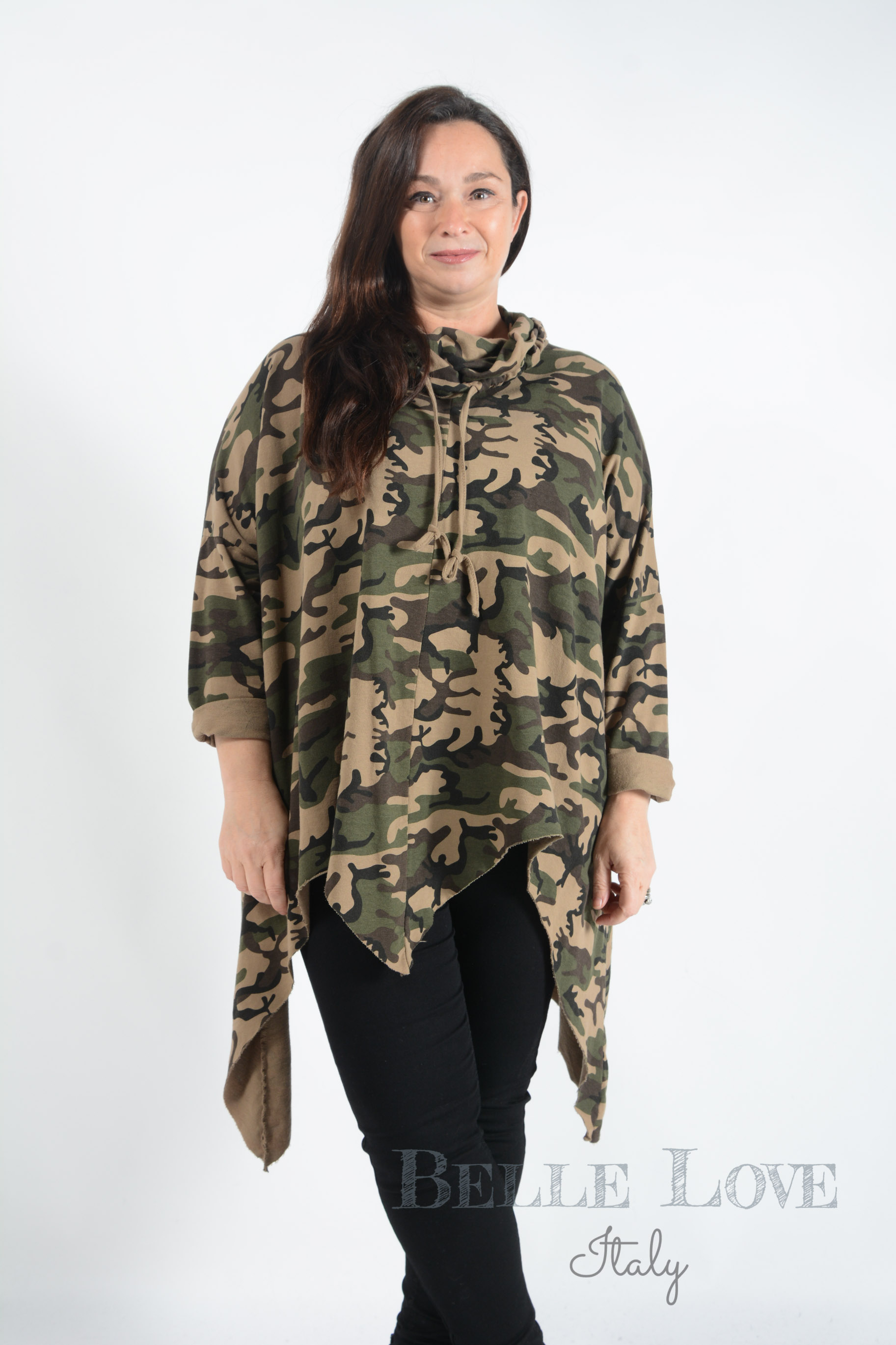 Belle Love Italy Hallie Cowl Neck Camouflage Tunic