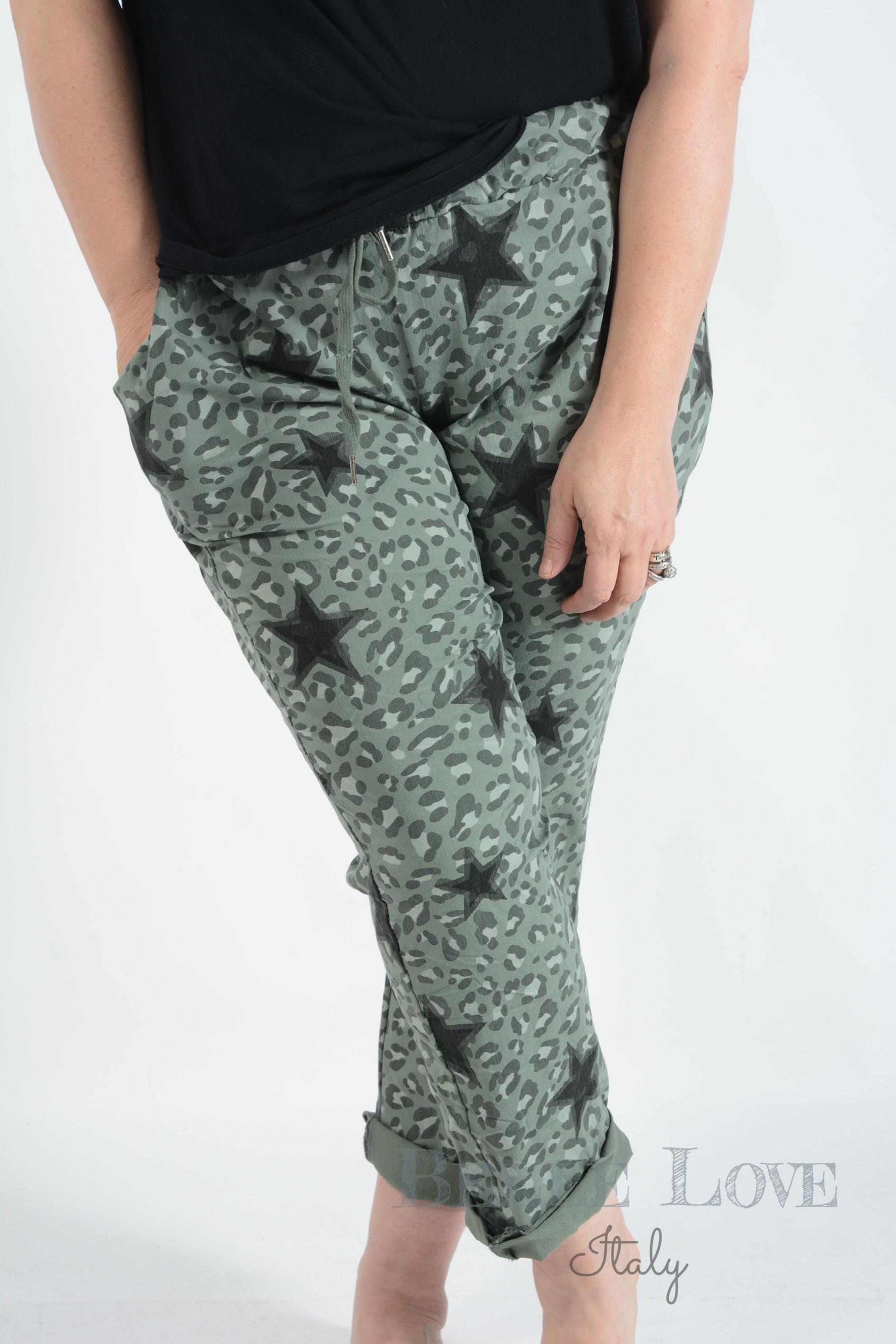 Belle Love Italy Maya Stars & Leopard Print Magic Pants