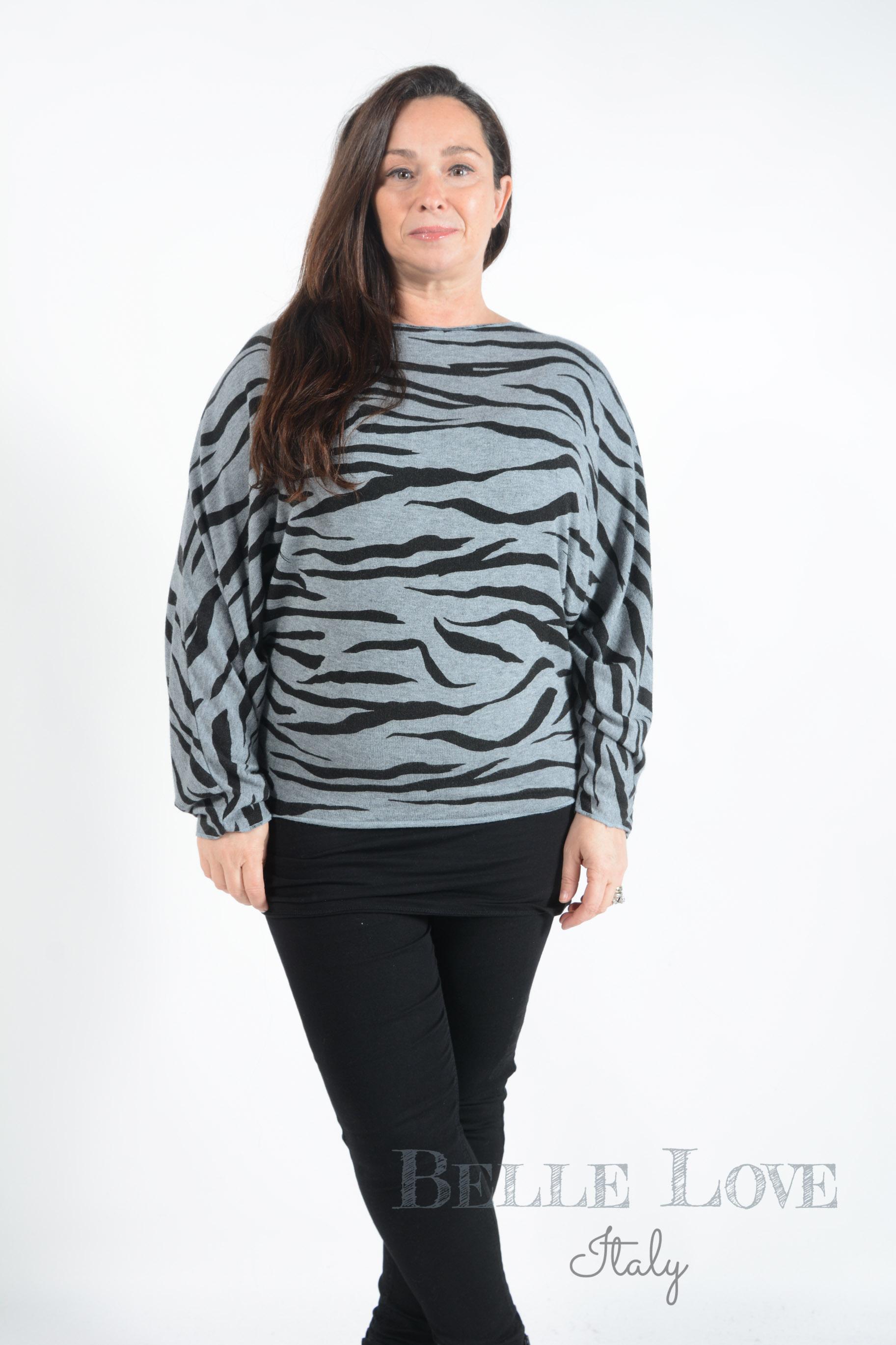 Belle Love Italy Valentina Zebra Print Knitwear