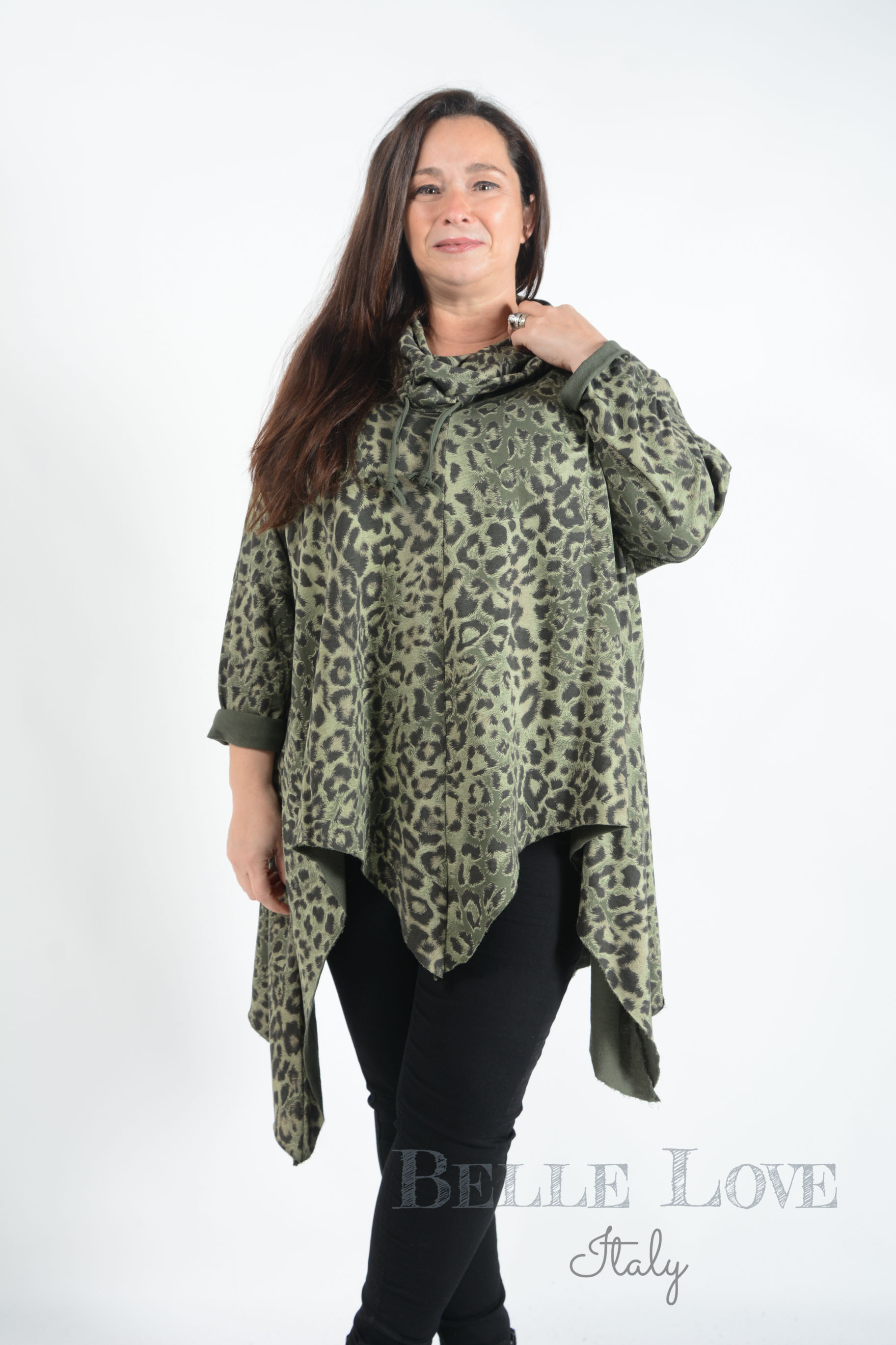 Belle Love Italy Hallie Cowl Neck Animal Print Tunic