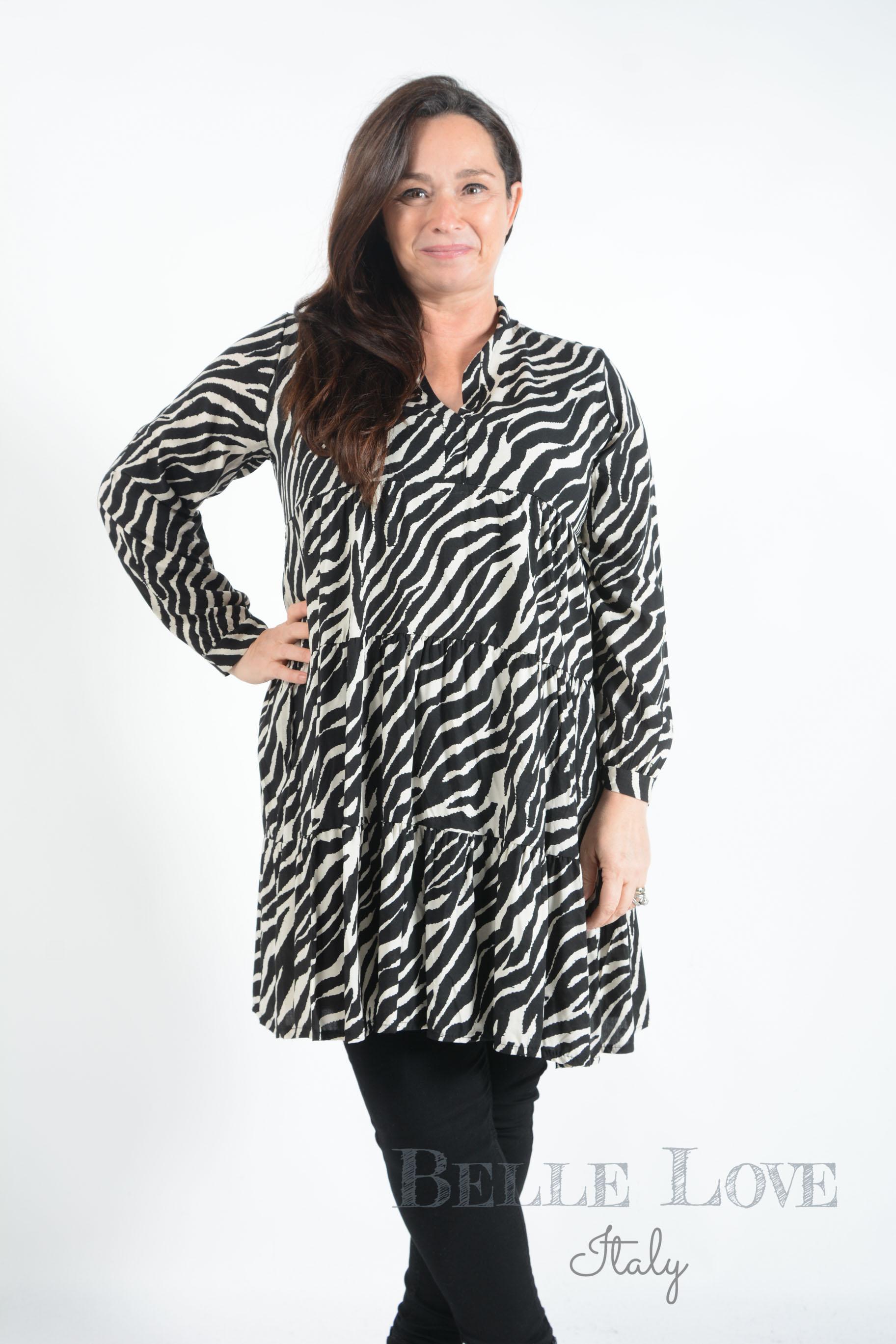 Belle Love Italy Sadie Zebra Print Smock Dress
