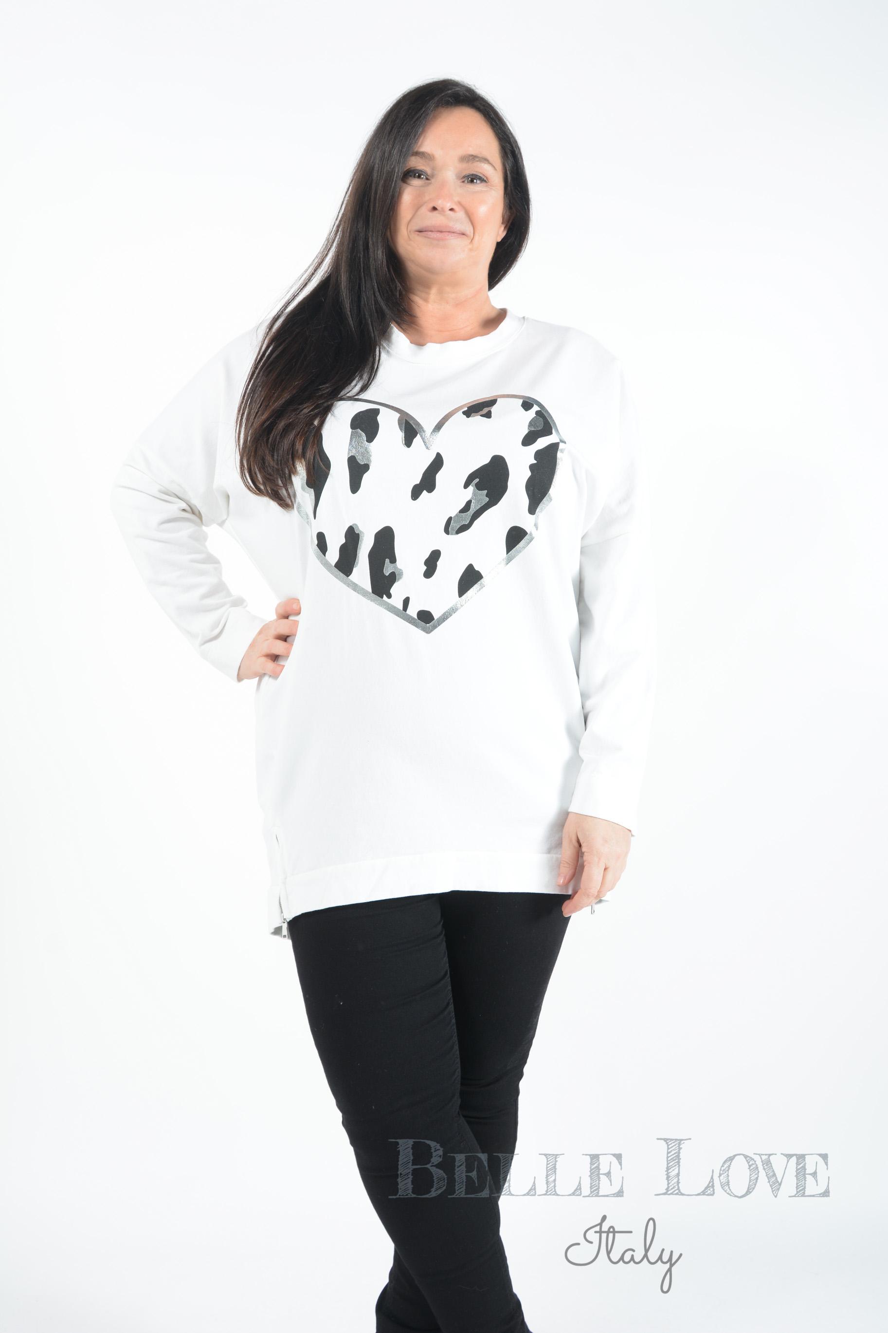 Belle Love Italy Ivy Leopard Heart Zip Sweatshirt