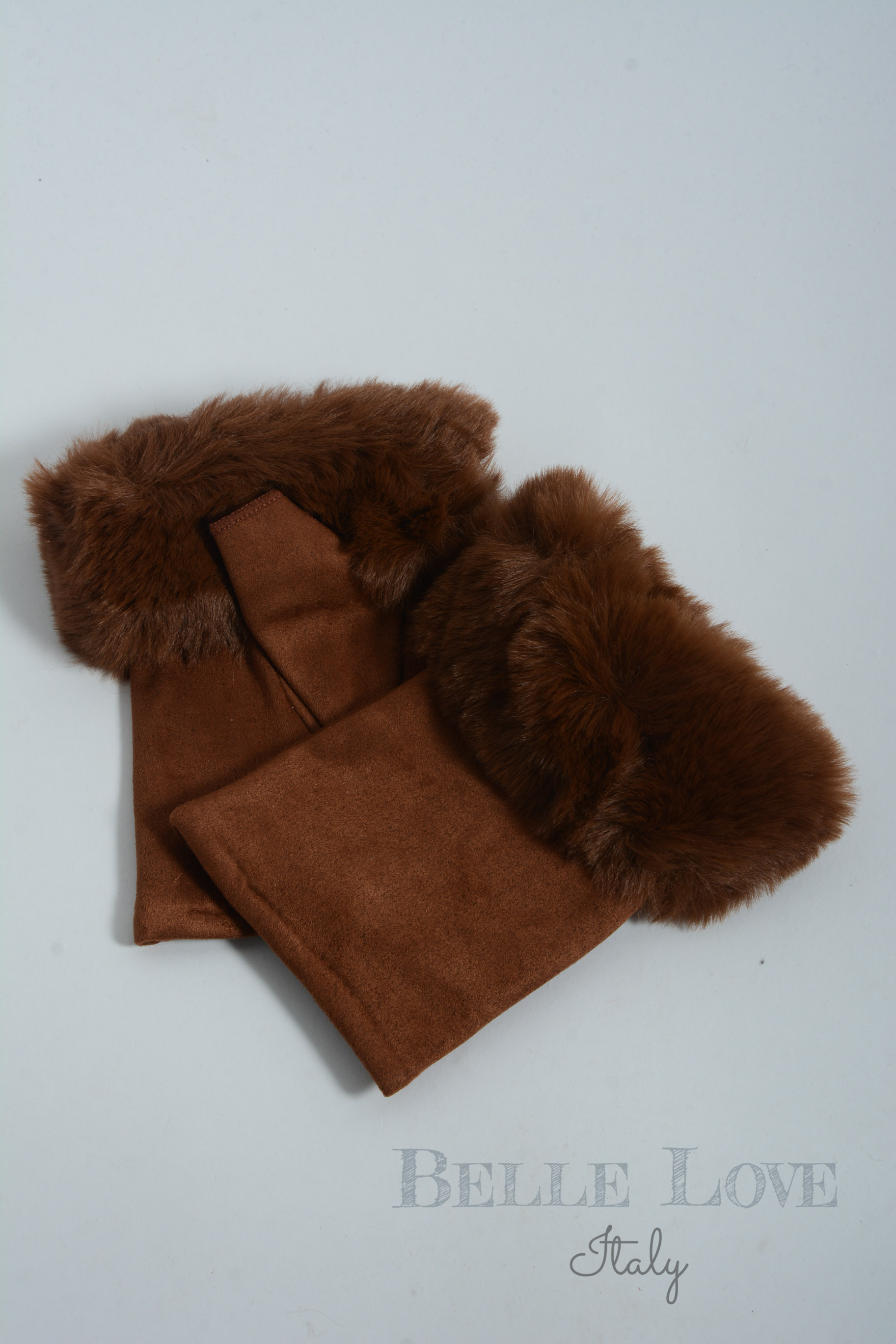 Belle Love Italy Evie Fingerless Suede Faux Fur Gloves