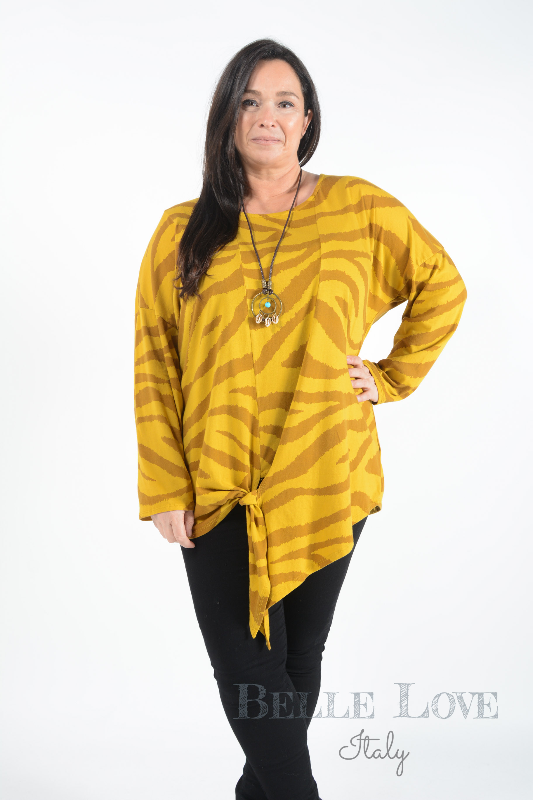 Belle Love Italy Willow Zebra Slipknot Tunic