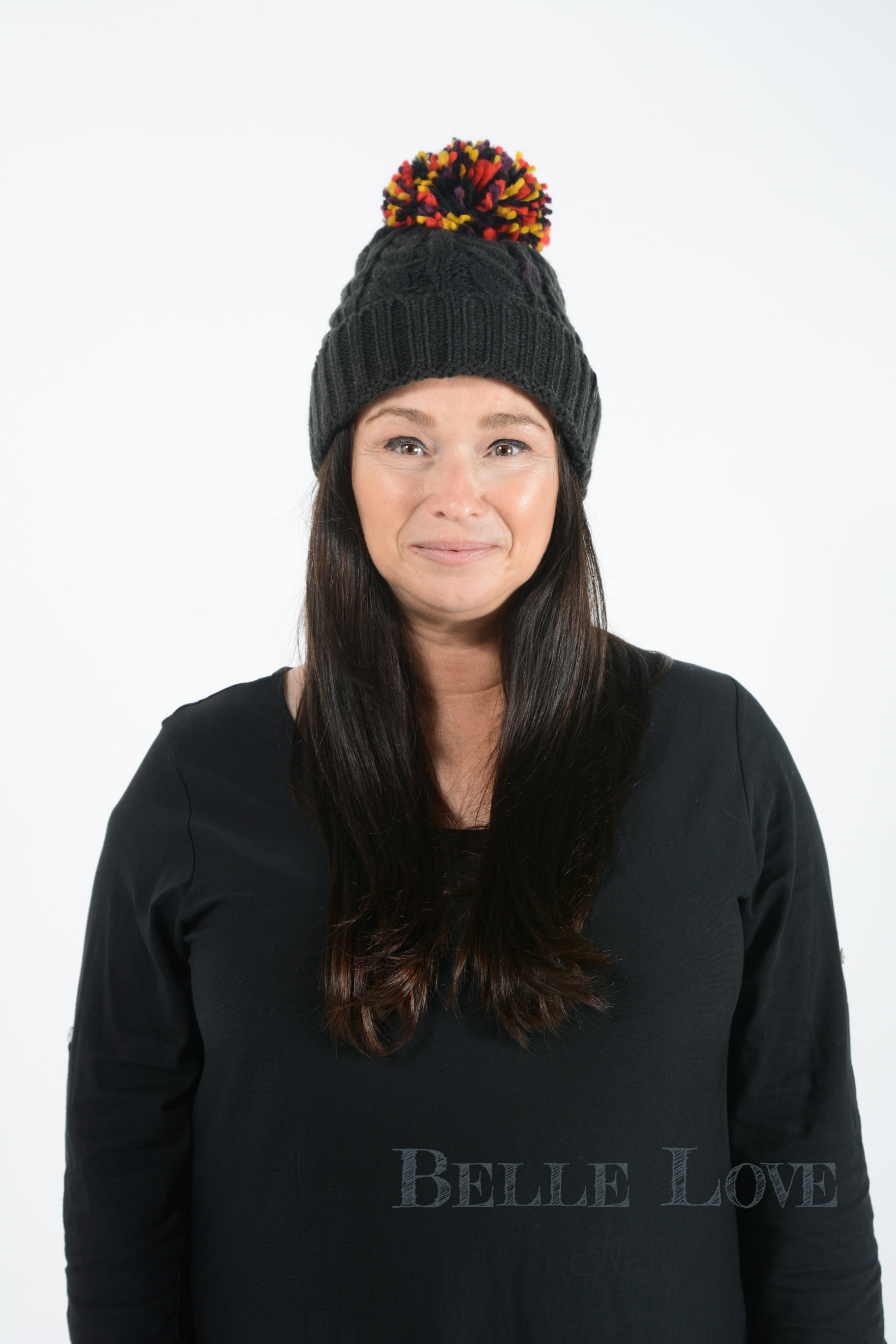 Belle Love Italy Ella Multi Coloured Pom Pom Hat