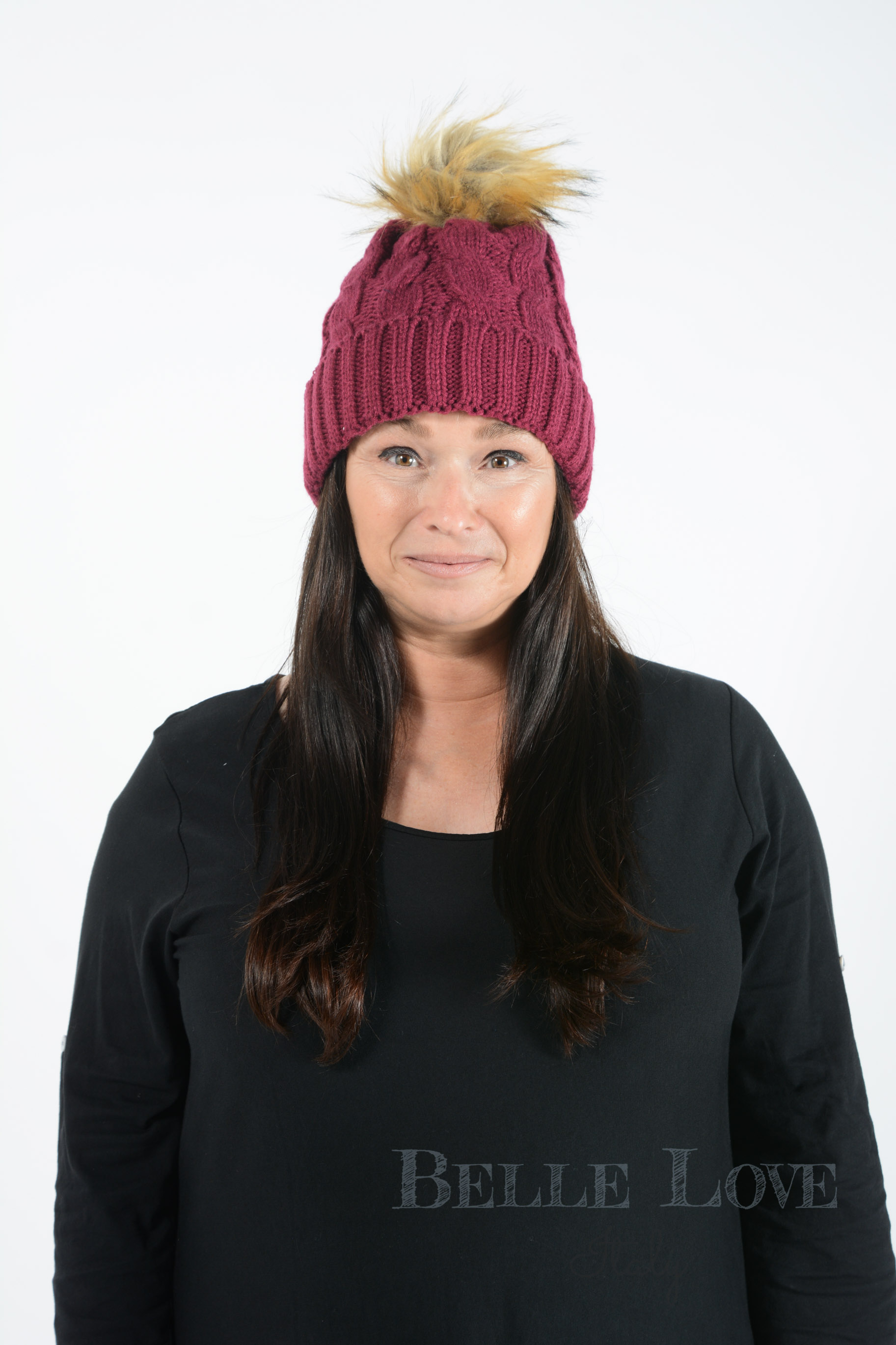 Belle Love Italy Leona Cable-Knit Pom Pom Hat
