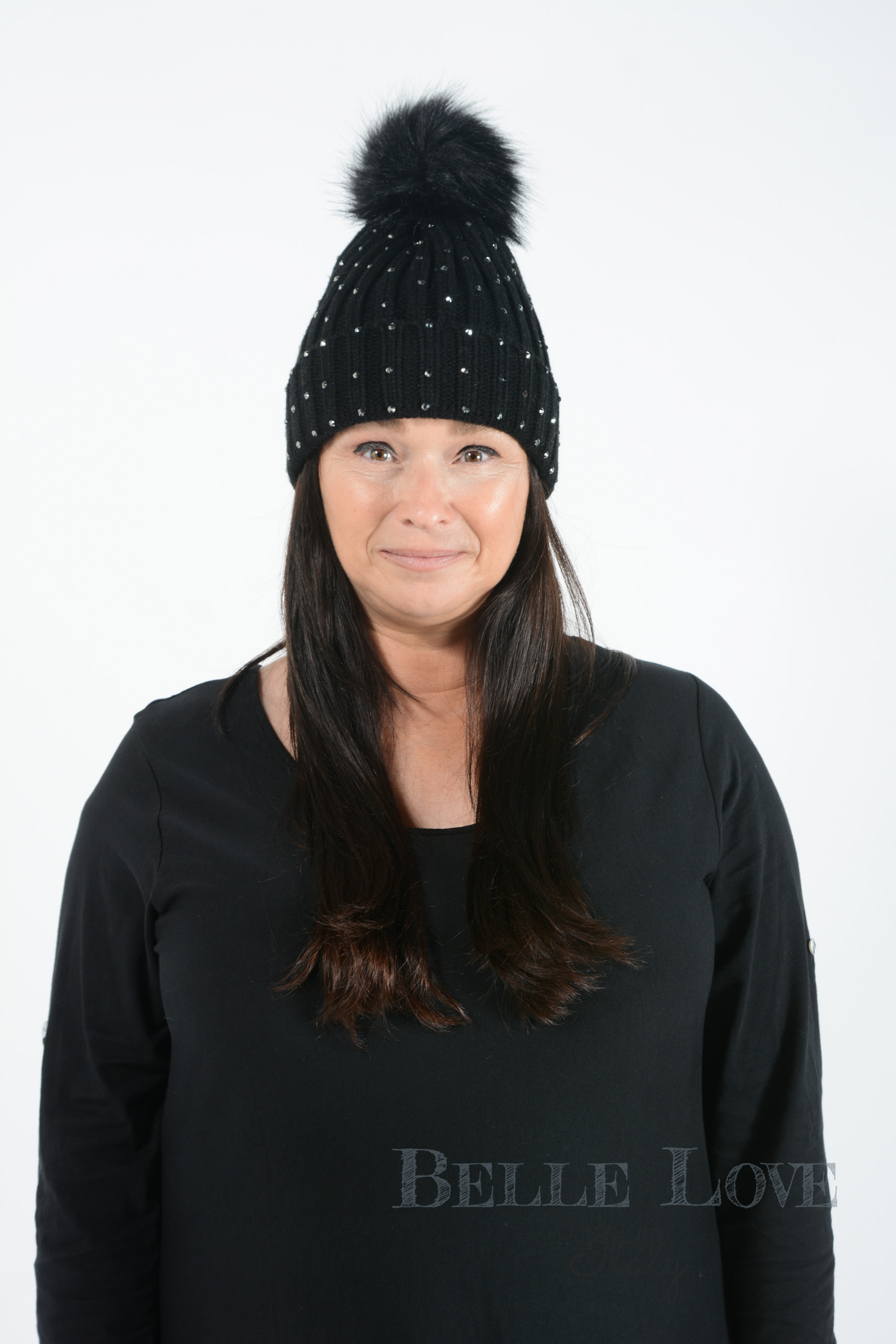 Belle Love Italy Skylar Diamante Pom Pom Hat